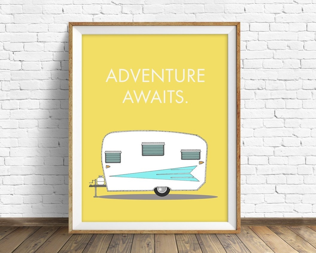 Retro Camper Art Print, Mid Century Modern Wall Art, Large Art Throughout Latest Mid Century Modern Wall Art (View 17 of 20)
