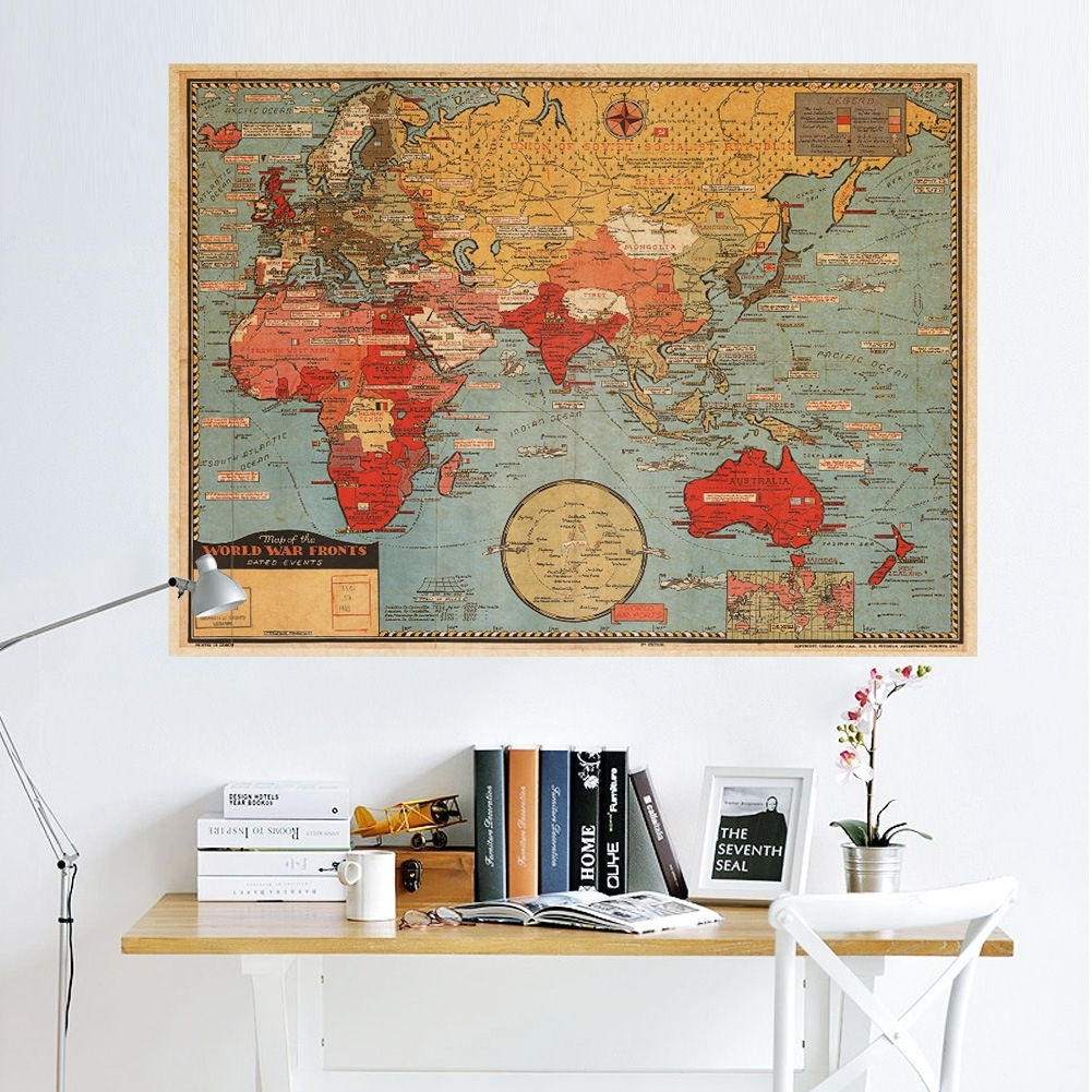 Retro World Map Vintage Home Room Wall Art Mural Decor Removable With Current Vinyl Wall Art World Map (View 13 of 20)