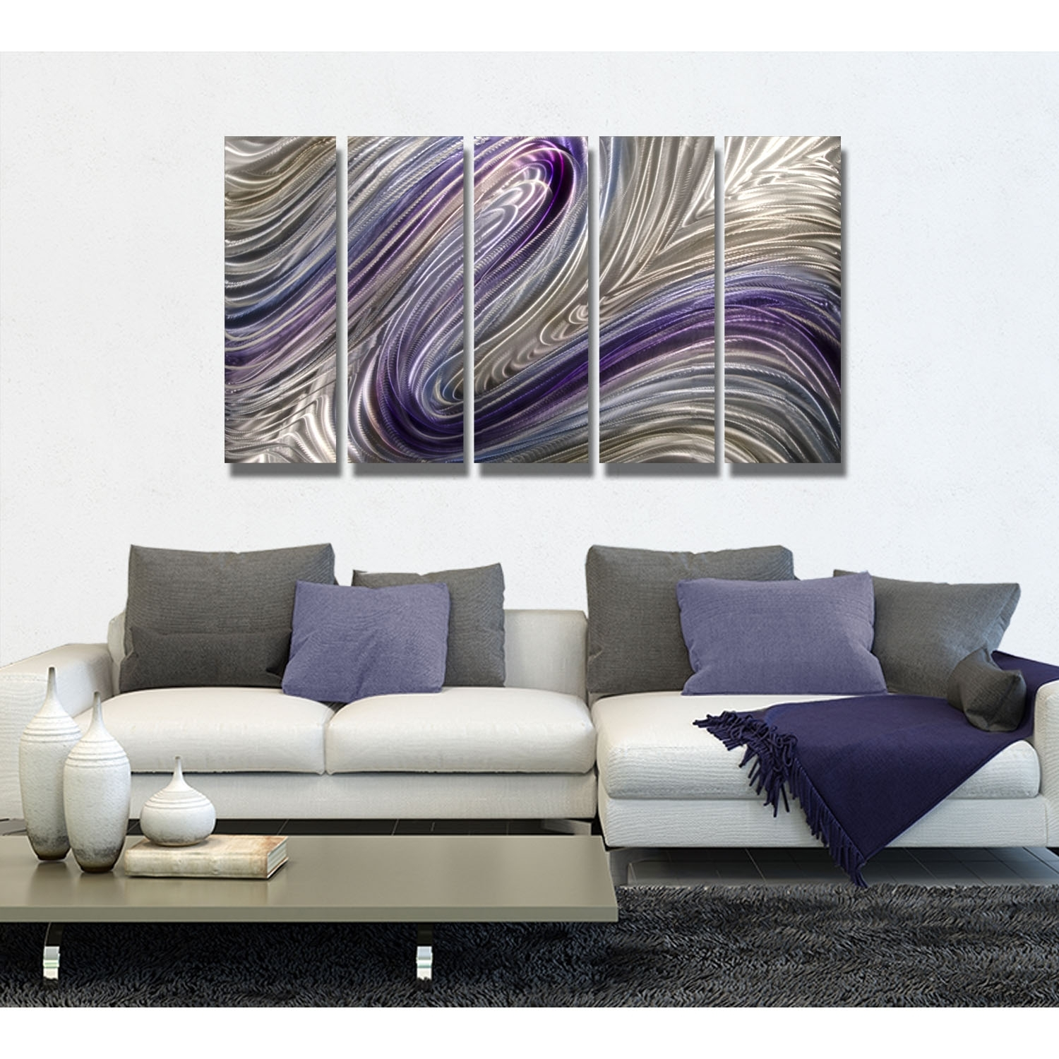 Reverie – Purple, Silver And Gold Metal Wall Art – 5 Panel Wall Pertaining To Newest Purple And Grey Wall Art (View 12 of 20)