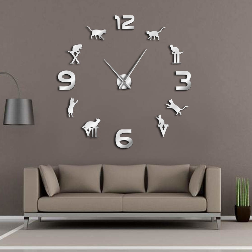 Roman Arabic Numerals Mixed Diy Large Wall Clock Kitty Cat Pertaining To Current Giant Wall Art (Gallery 5 of 20)