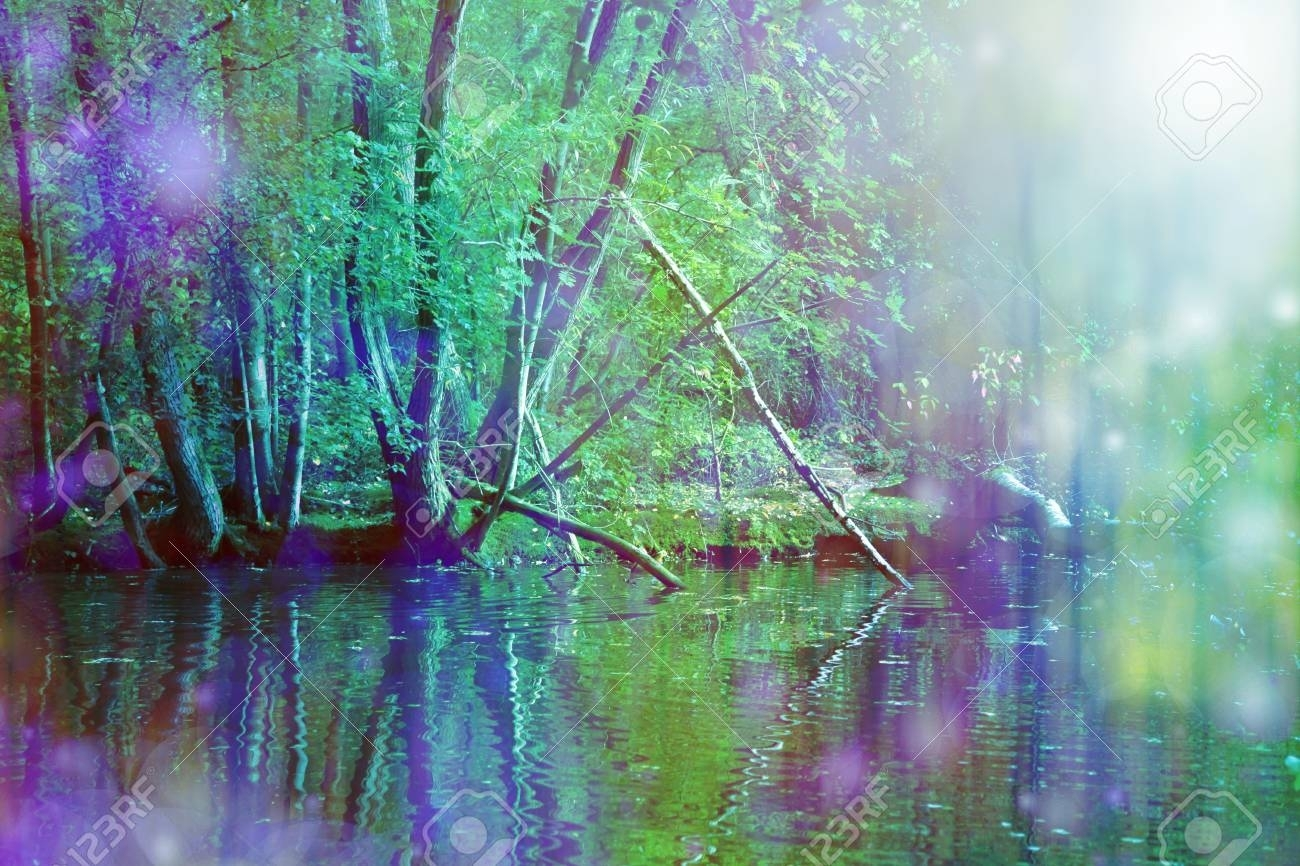 Romantic Riverside Nature Wall Art – Beautiful Purple And Vivid In Most Current Nature Wall Art (View 17 of 20)