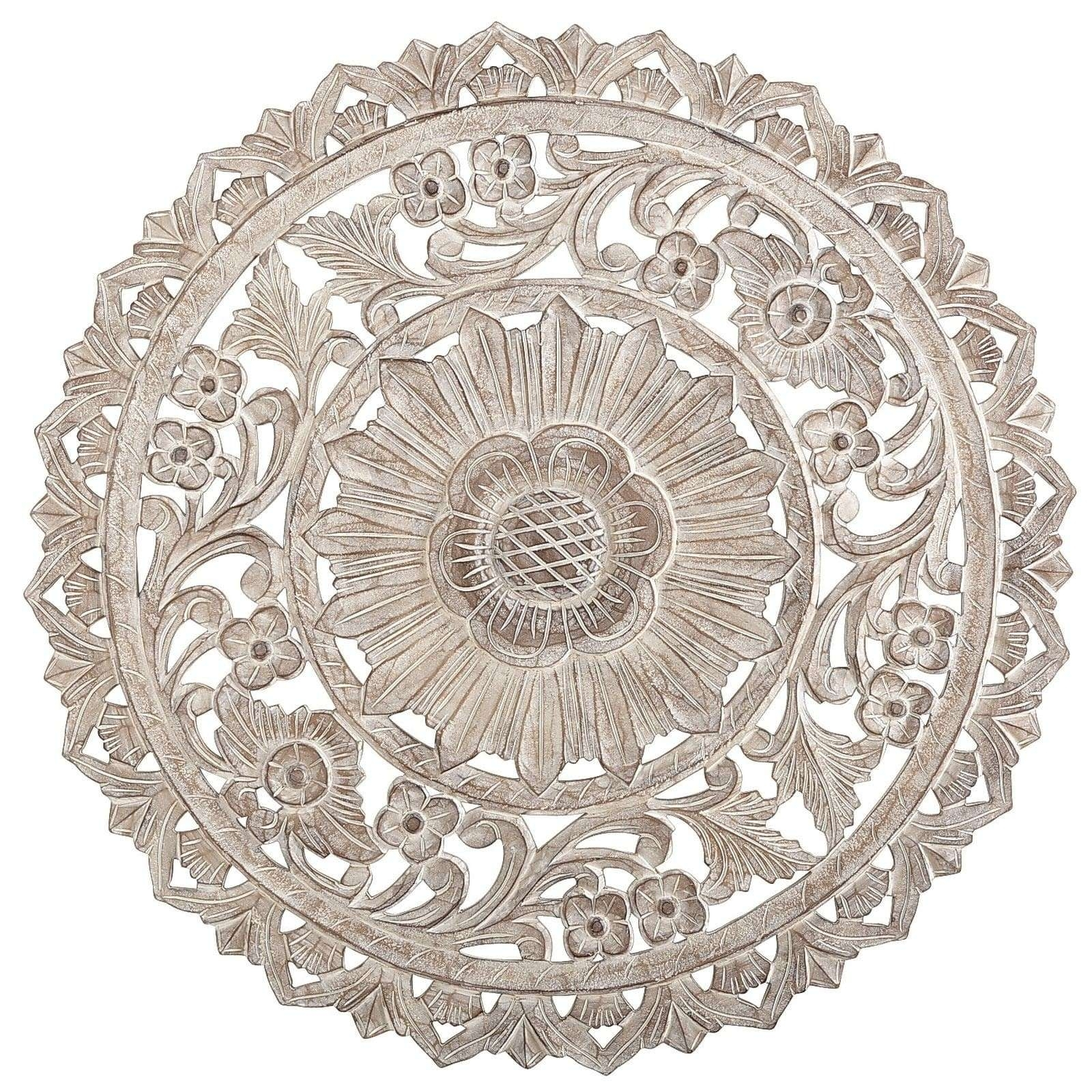 Round Medallion Wall Art White Wood Unique Carved Whitewash Decor Within Most Up To Date Medallion Wall Art (View 7 of 20)