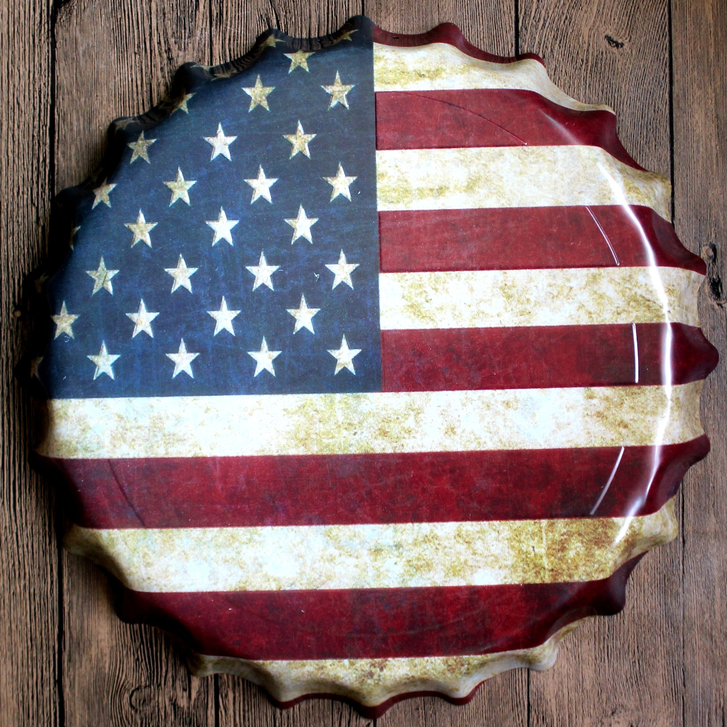 Round Usa Flag Relief Bottle Cap Vintage Tin Sign Bar Pub Home Wall Intended For 2018 Vintage American Flag Wall Art (Gallery 18 of 20)