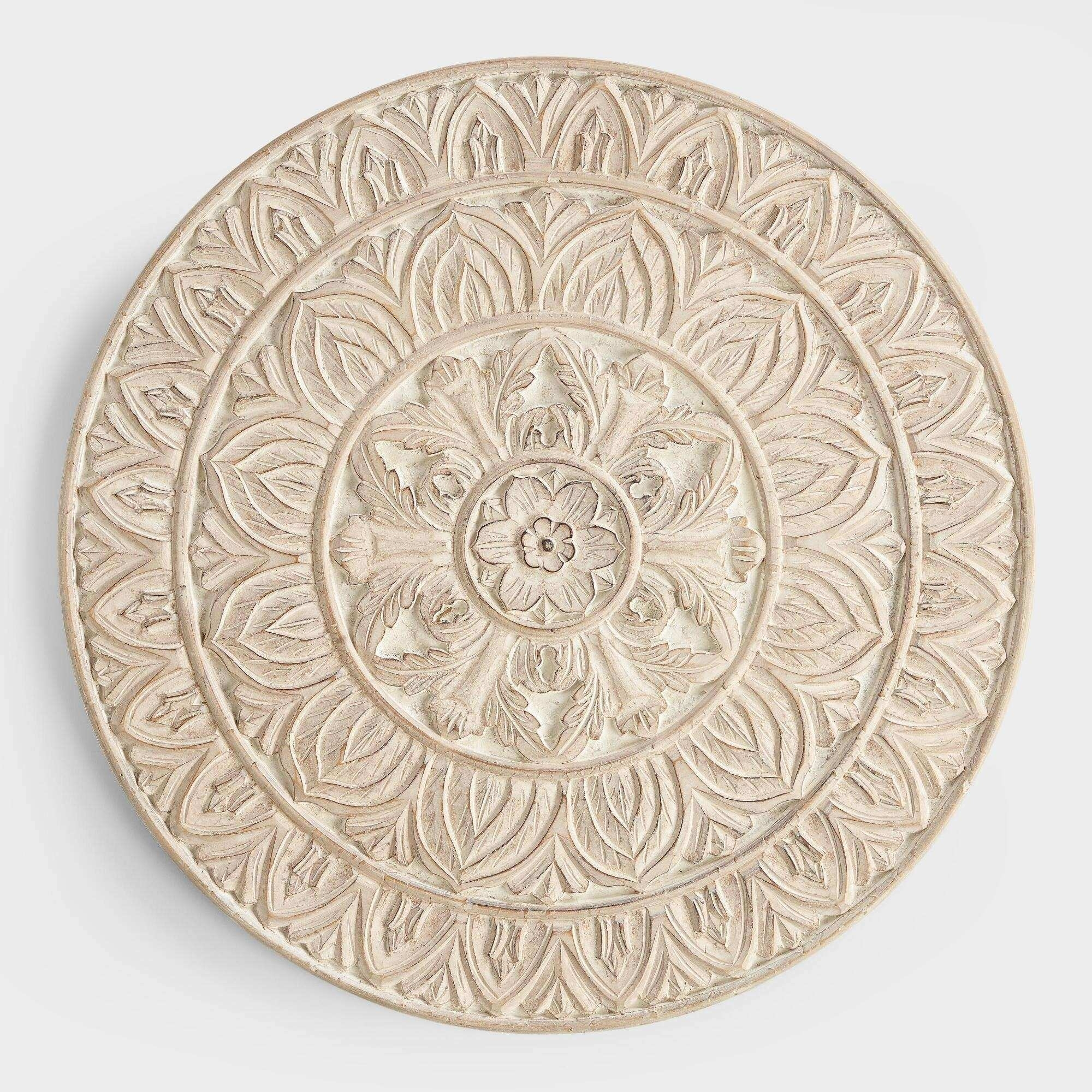 Round Wood Wall Art Best Of Whitewashed Round Wood Shaila Wall Decor Throughout Most Popular Round Wood Wall Art (View 12 of 15)