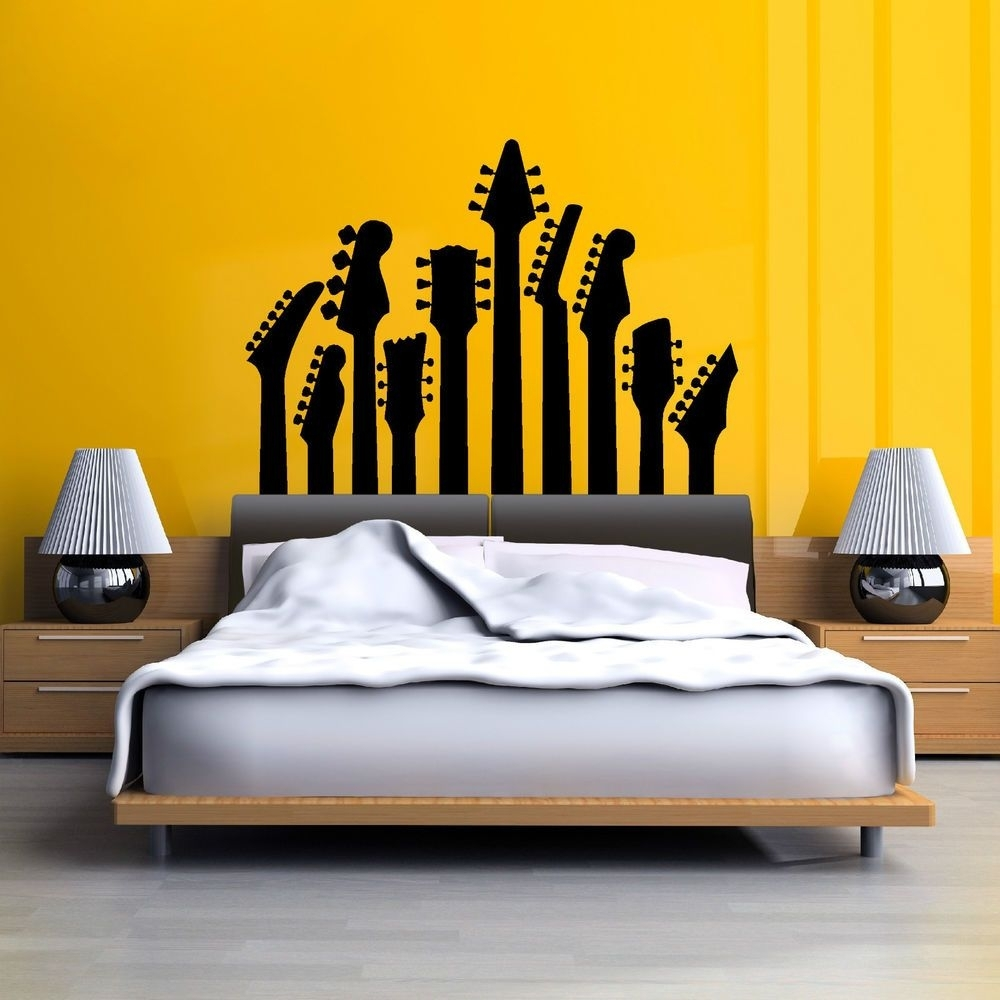Row Of Guitar Necks Wall Art Sticker Music Decal Rock Silhouette Inside 2018 Music Wall Art (Gallery 8 of 15)