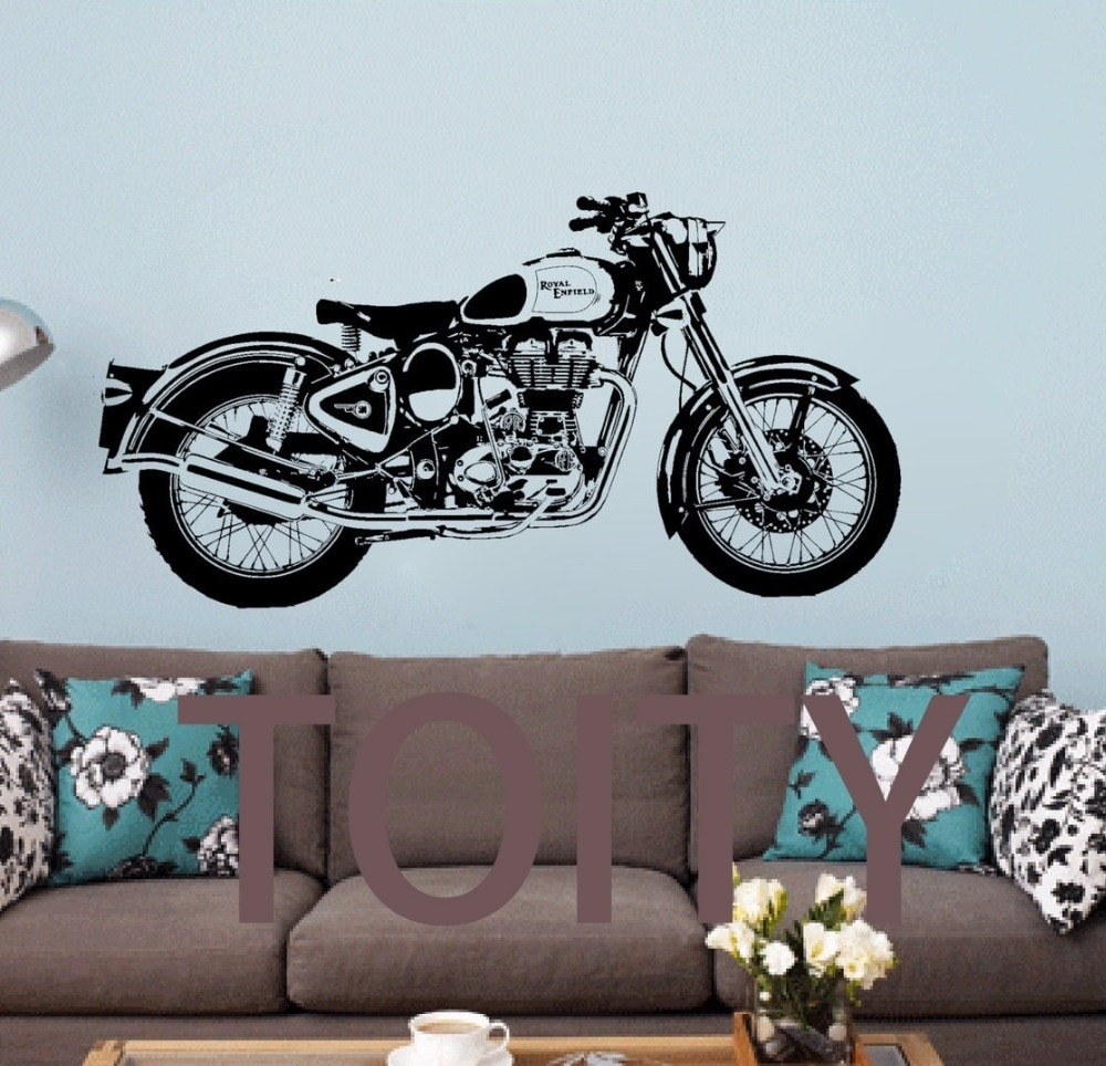 Royal Enfield Motorbike Wall Art Sticker Classic English Motorcycle With 2018 Motorcycle Wall Art (View 18 of 20)