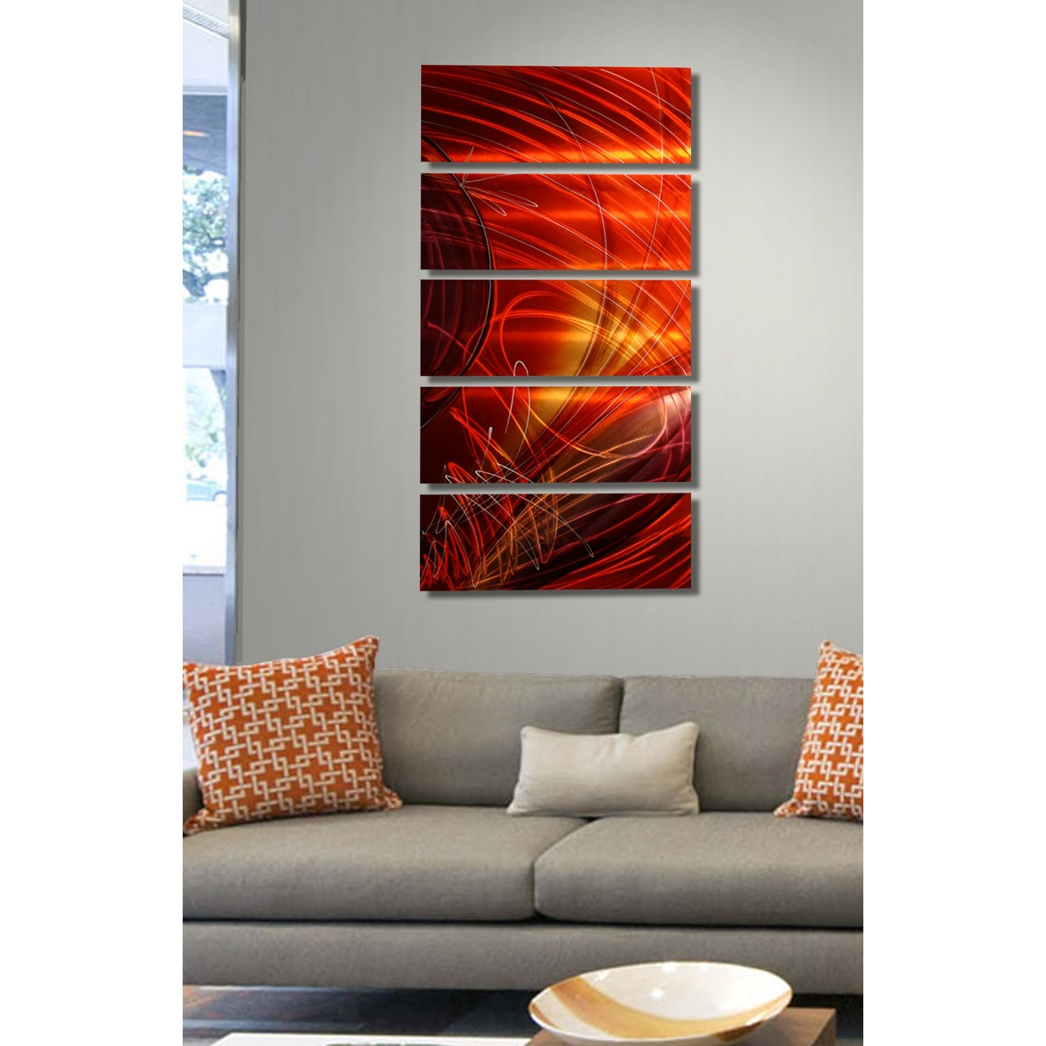 Ruby Sky – Red, Gold And Purple Metal Wall Art – 5 Panel Wall Décor For Most Current 5 Panel Wall Art (View 13 of 20)