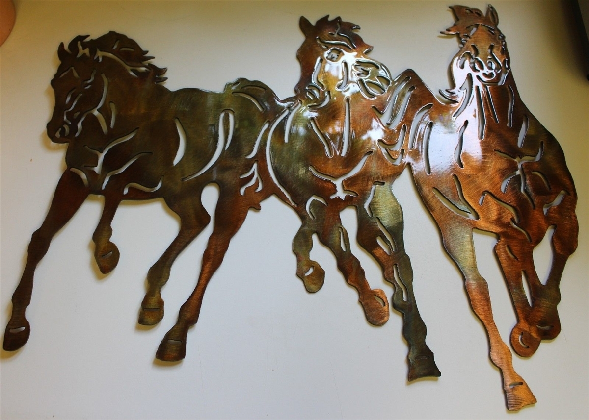 Running Free Western 3 Horses Metal Wall Art Decor Regarding Newest Western Wall Art (View 15 of 20)