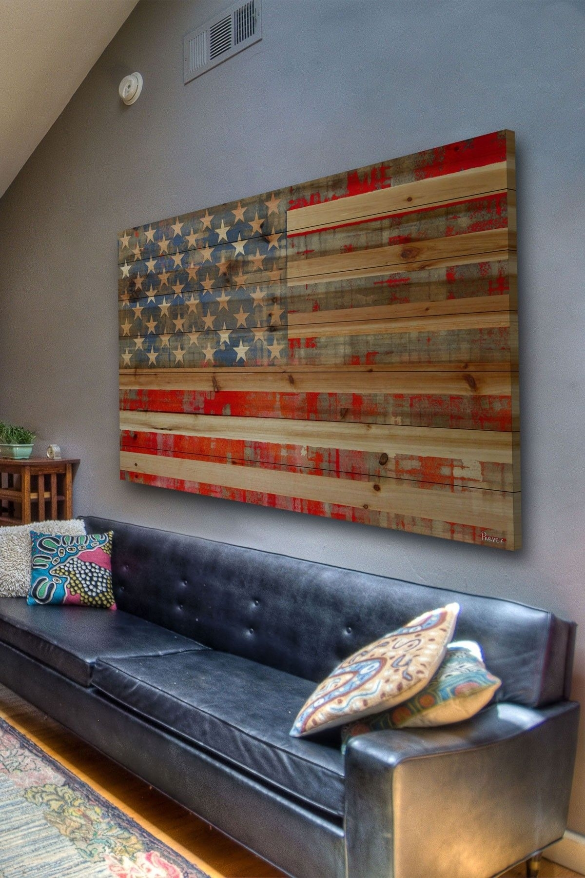 Rustic American Flag Decor Maybe For A Basement Or Lake House Regarding Latest American Flag Wall Art (View 9 of 15)