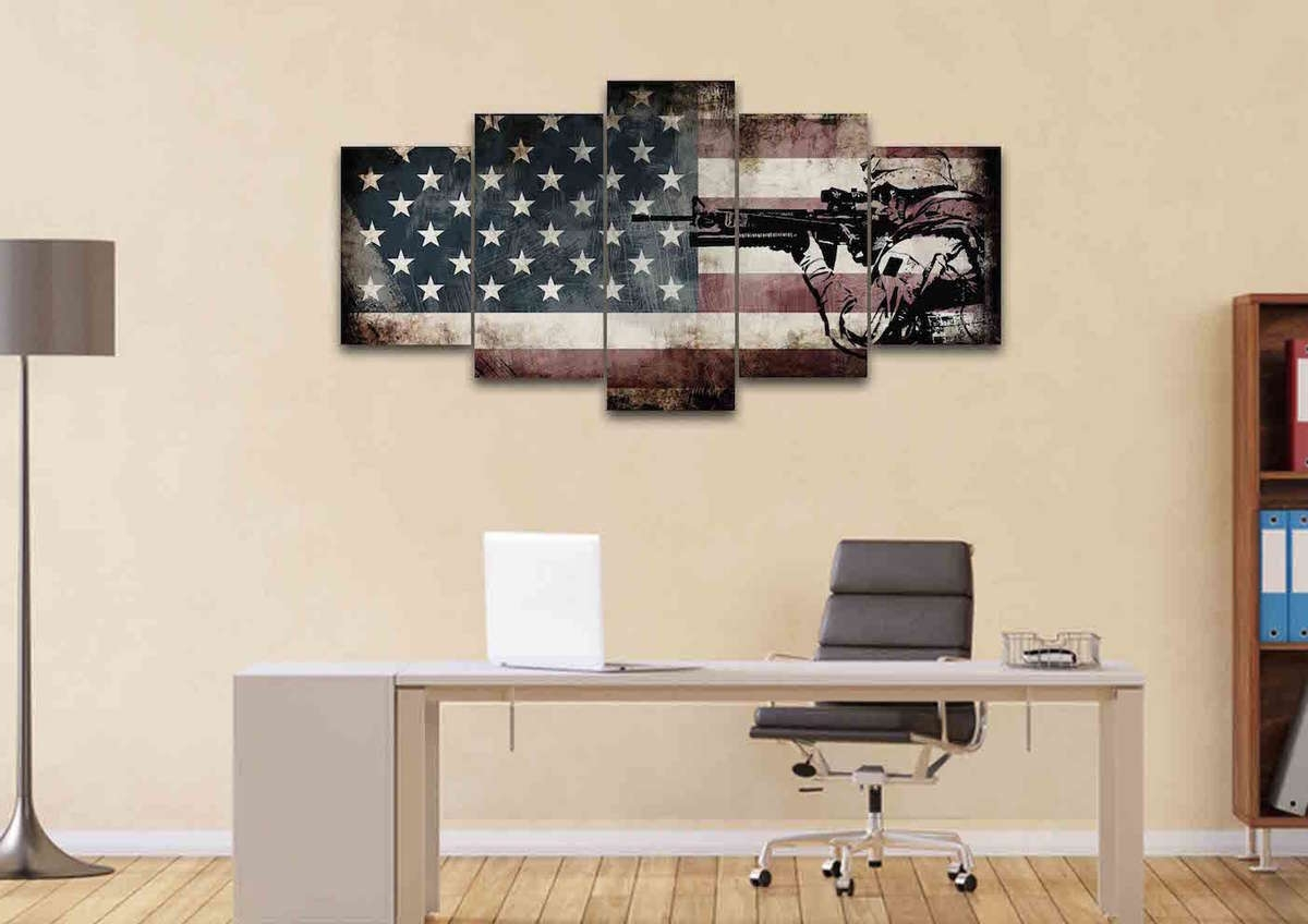 Rustic American Flag With Us Army Soldier Wall Art Canvas Painting Inside 2017 Rustic American Flag Wall Art (View 14 of 20)