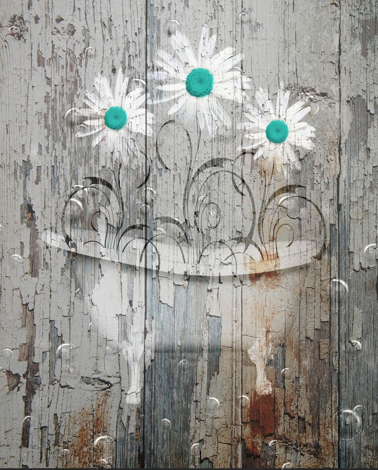 Rustic Distressed Daisy Flowers In Bathtub, Farmhouse Country Wall Pertaining To Newest Country Wall Art (Gallery 20 of 20)