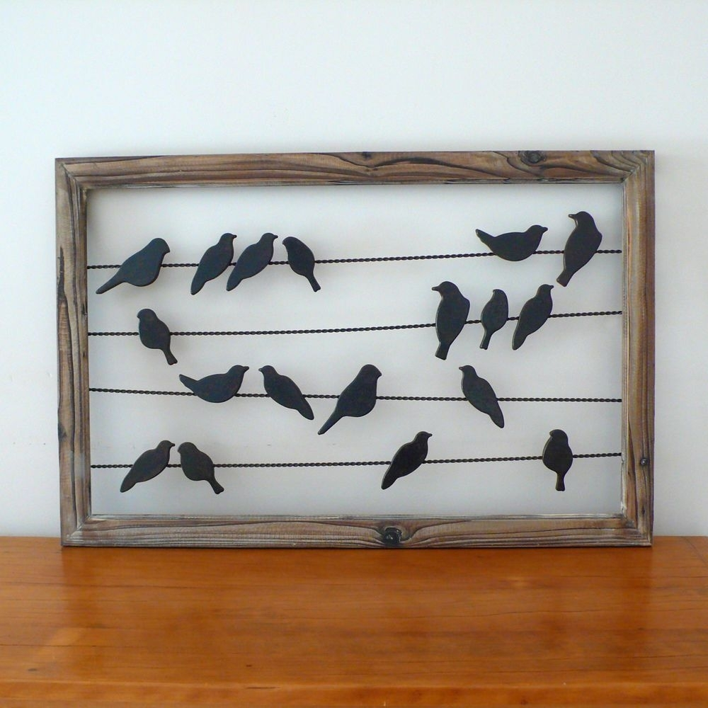Rustic French Country Metal & Wood Birds On Wire Wall Hanging Art For Current Birds On A Wire Wall Art (View 4 of 20)