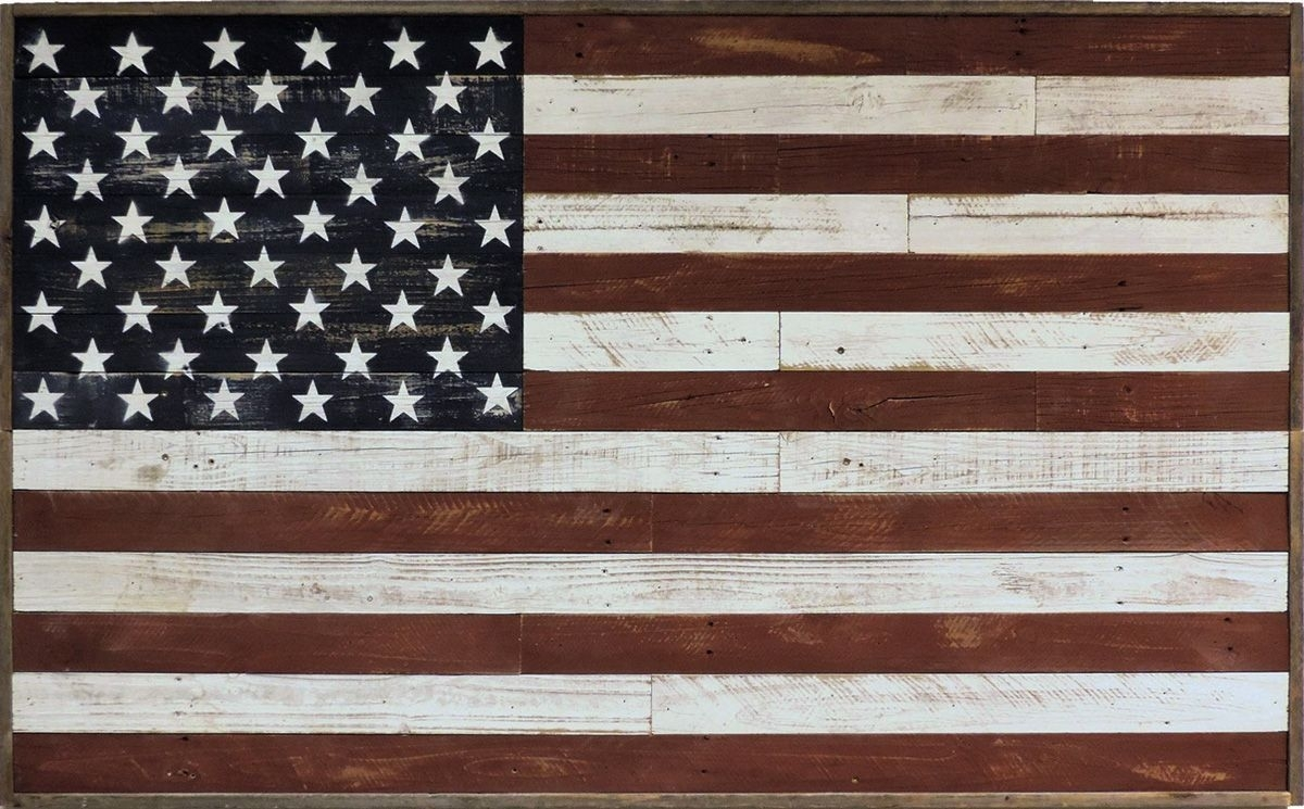 Rustic Reclaimed Barnwood Large American Flag Wall Art Country Decor Regarding Current Rustic American Flag Wall Art (Gallery 13 of 20)