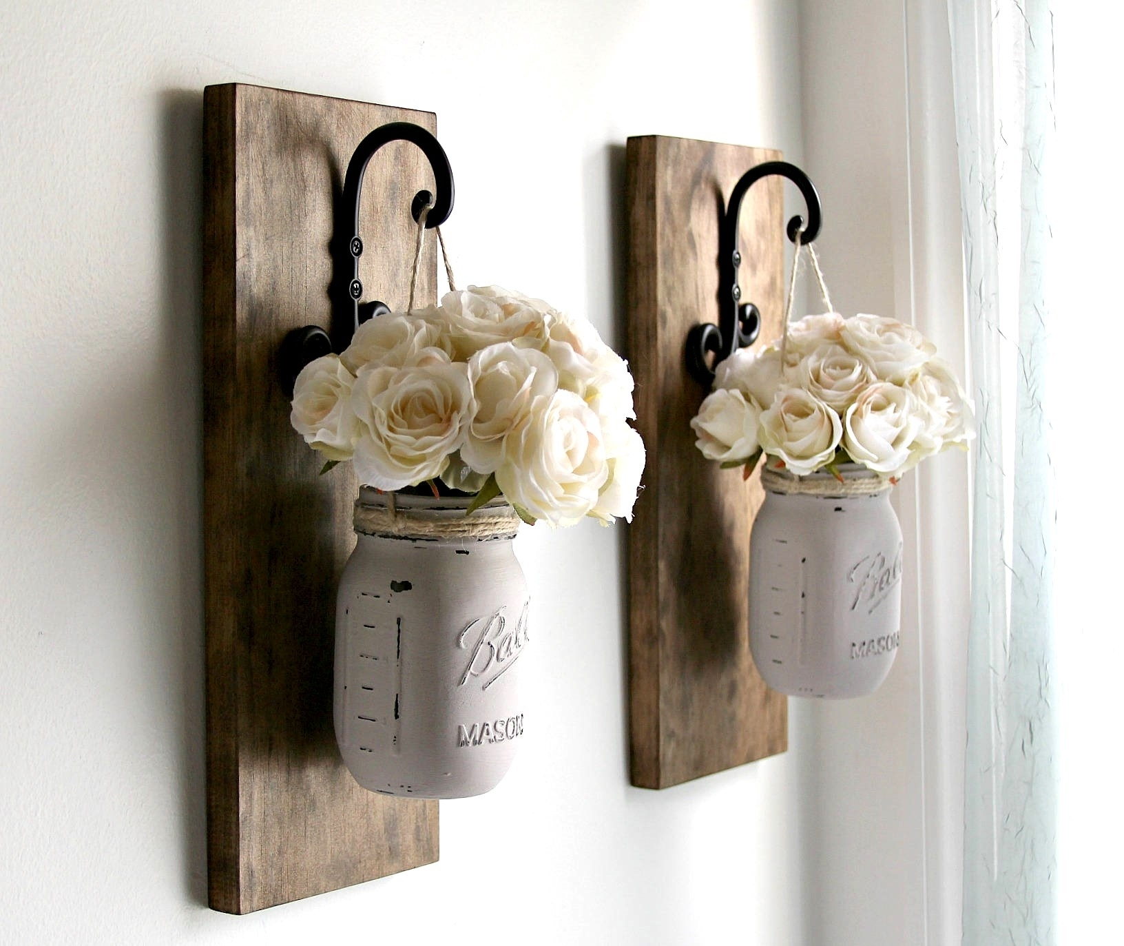 Rustic Sconces Rustic Wall Decor Mason Jars Sconce Farmhouse | Art Within Best And Newest Mason Jar Wall Art (View 12 of 20)