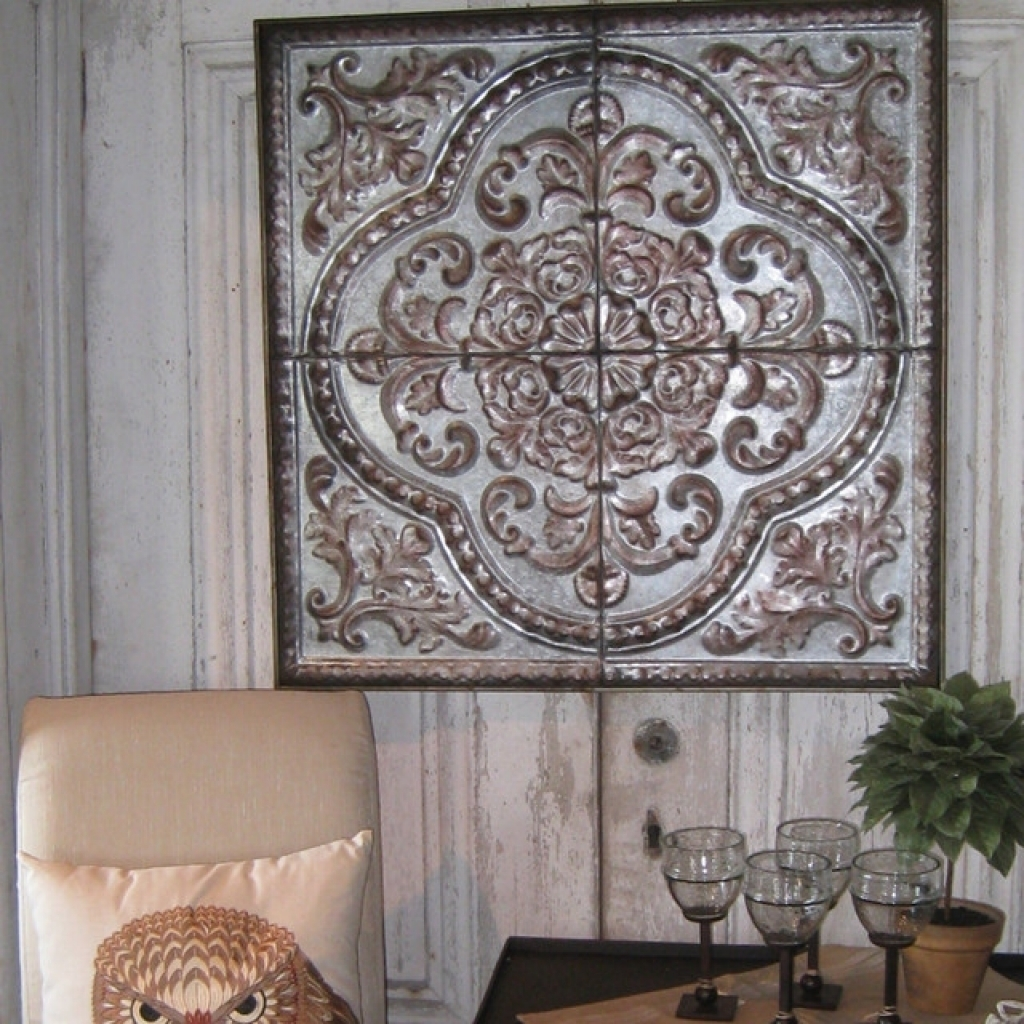 Rustic Seville Tin Wall Plaque 24x24 Mediterranean Home Plaque With Most Recently Released Tin Wall Art (View 18 of 20)