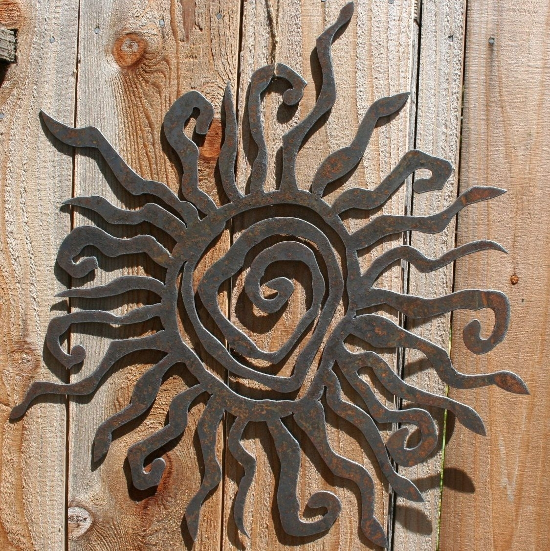 """Rustic Sun Indoor/outdoor Wall Decor 30"""" Recycled Steel Custom Sun Throughout Latest Outdoor Sun Wall Art (View 11 of 15)"""