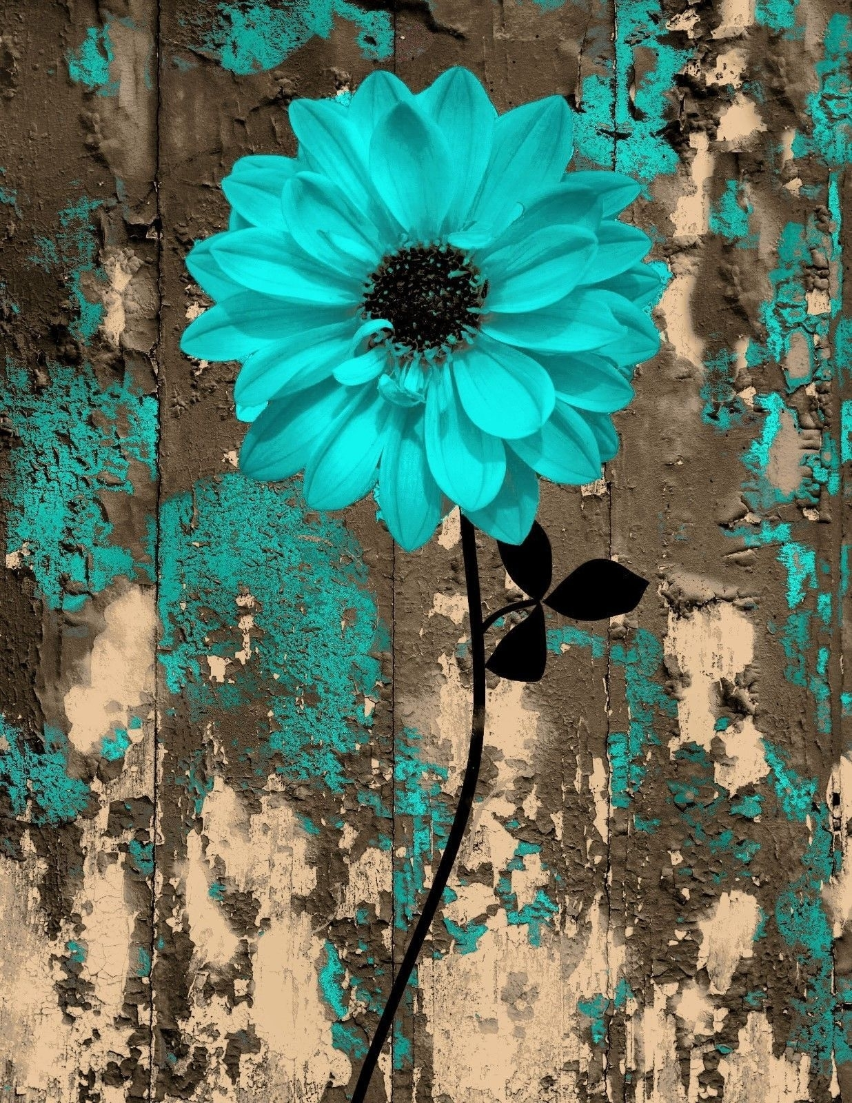 Rustic Teal Brown Floral Bedroom/bathroom Wall Art Home Decor Matted In Most Recent Teal And Brown Wall Art (Gallery 17 of 20)