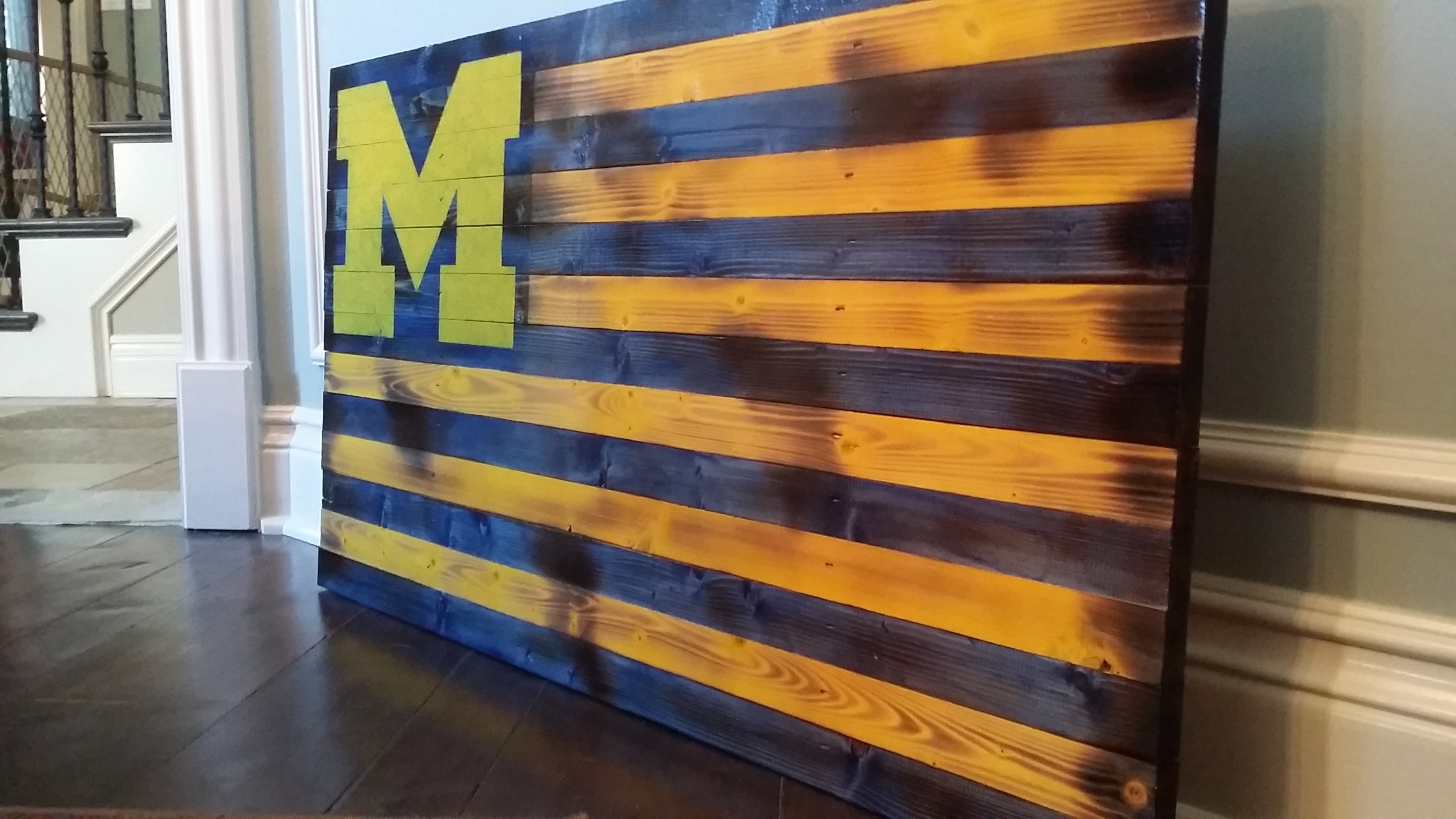 Rustic U Of M Flag With Regard To Current Michigan Wall Art (View 2 of 20)