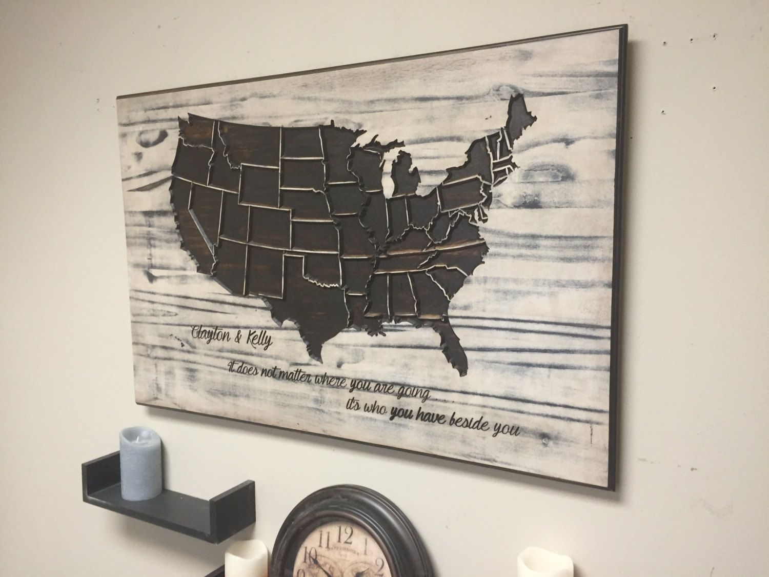 Rustic Us Map Wood Wall Art, Carved, United States Map, State Pertaining To Most Recently Released Personalized Wood Wall Art (View 19 of 20)