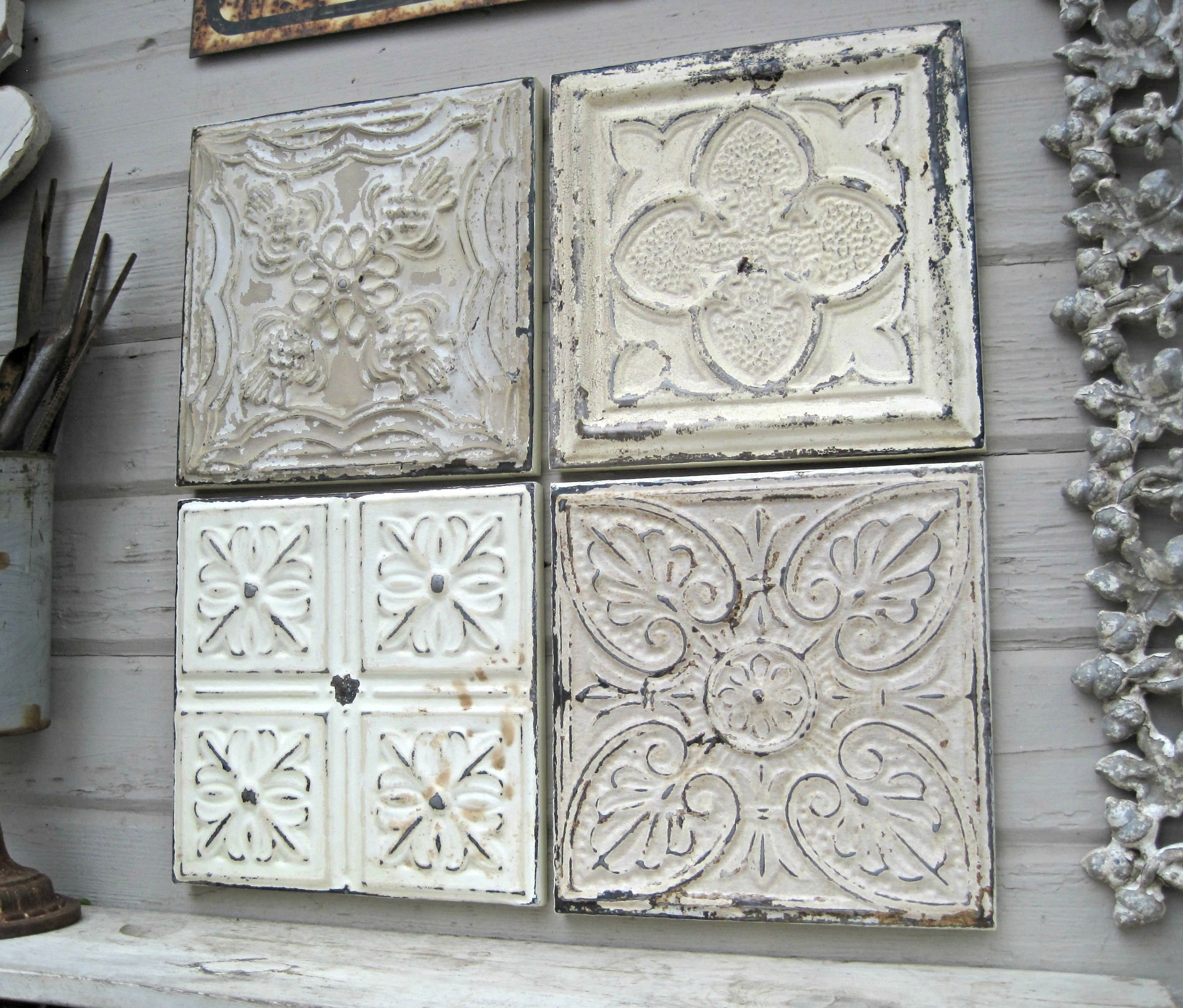 Rustic Wall Decor, Antique Architectural Salvage, 4 Framed Ceiling Within Most Up To Date Tin Wall Art (Gallery 7 of 20)