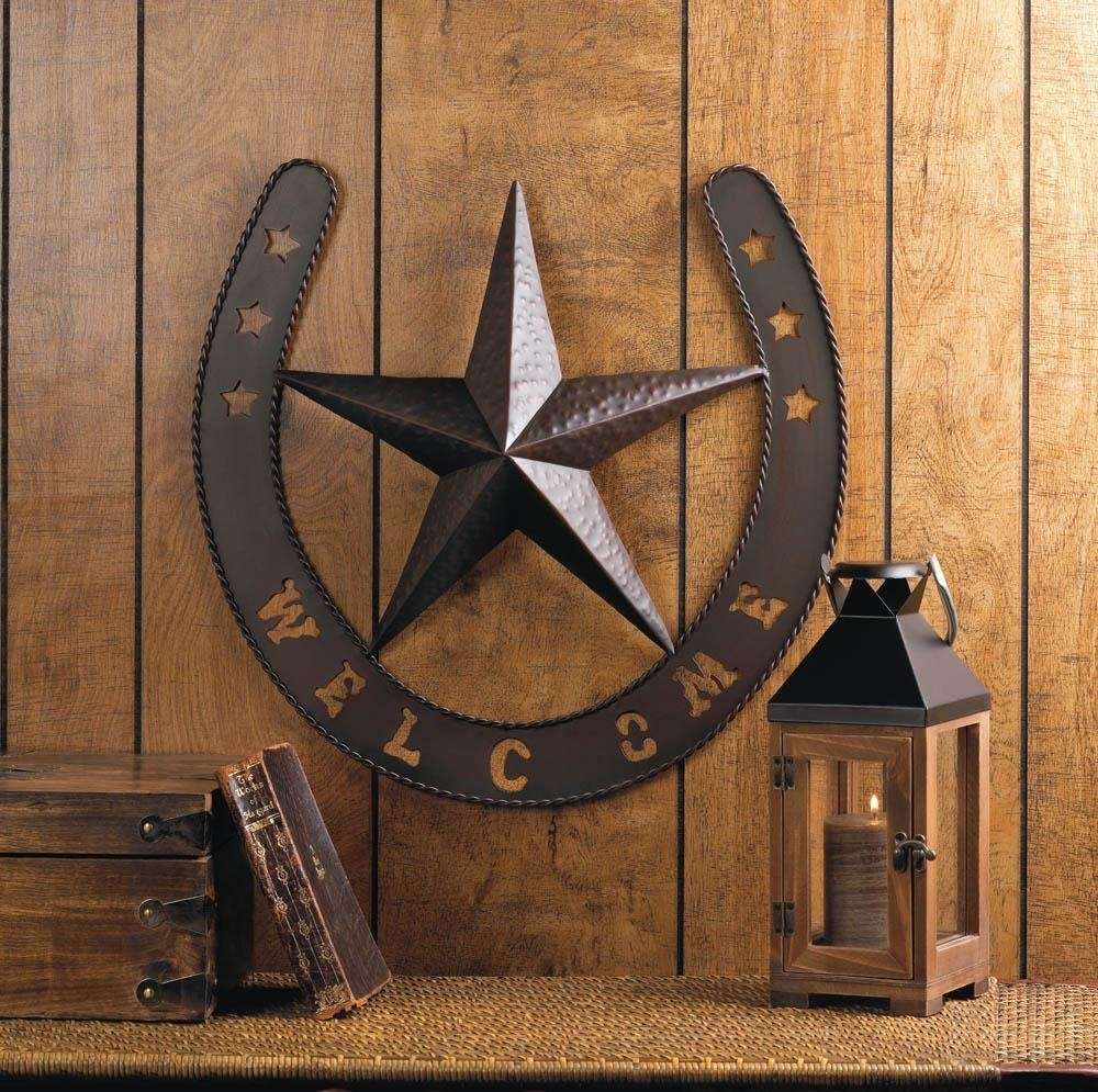 Rustic Welcome Star Horseshoe Country Cowboy Horse Metal Wall Art Pertaining To Recent Western Wall Art (View 12 of 20)