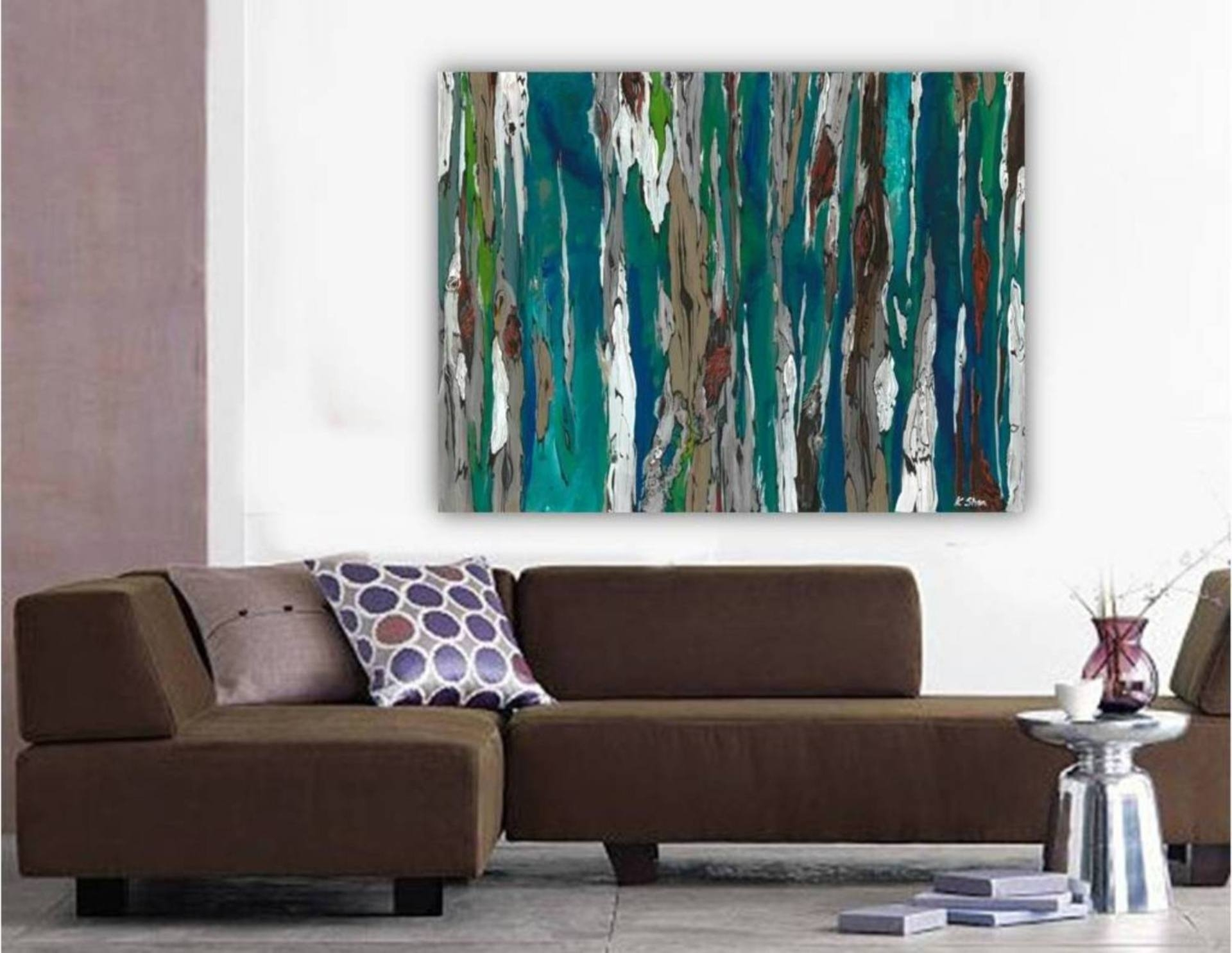 Saatchi Art: Large Contemporary Original Abstract Tree Landscape Within Best And Newest Teal And Brown Wall Art (View 14 of 20)