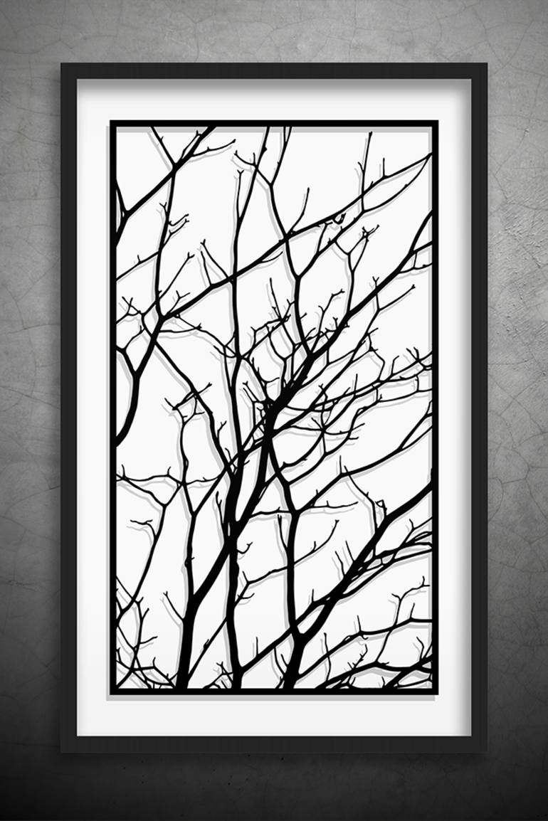 Saatchi Art: Tree Branches Original Paper Cut Art, Black And White Intended For Most Up To Date Black Wall Art (View 10 of 20)