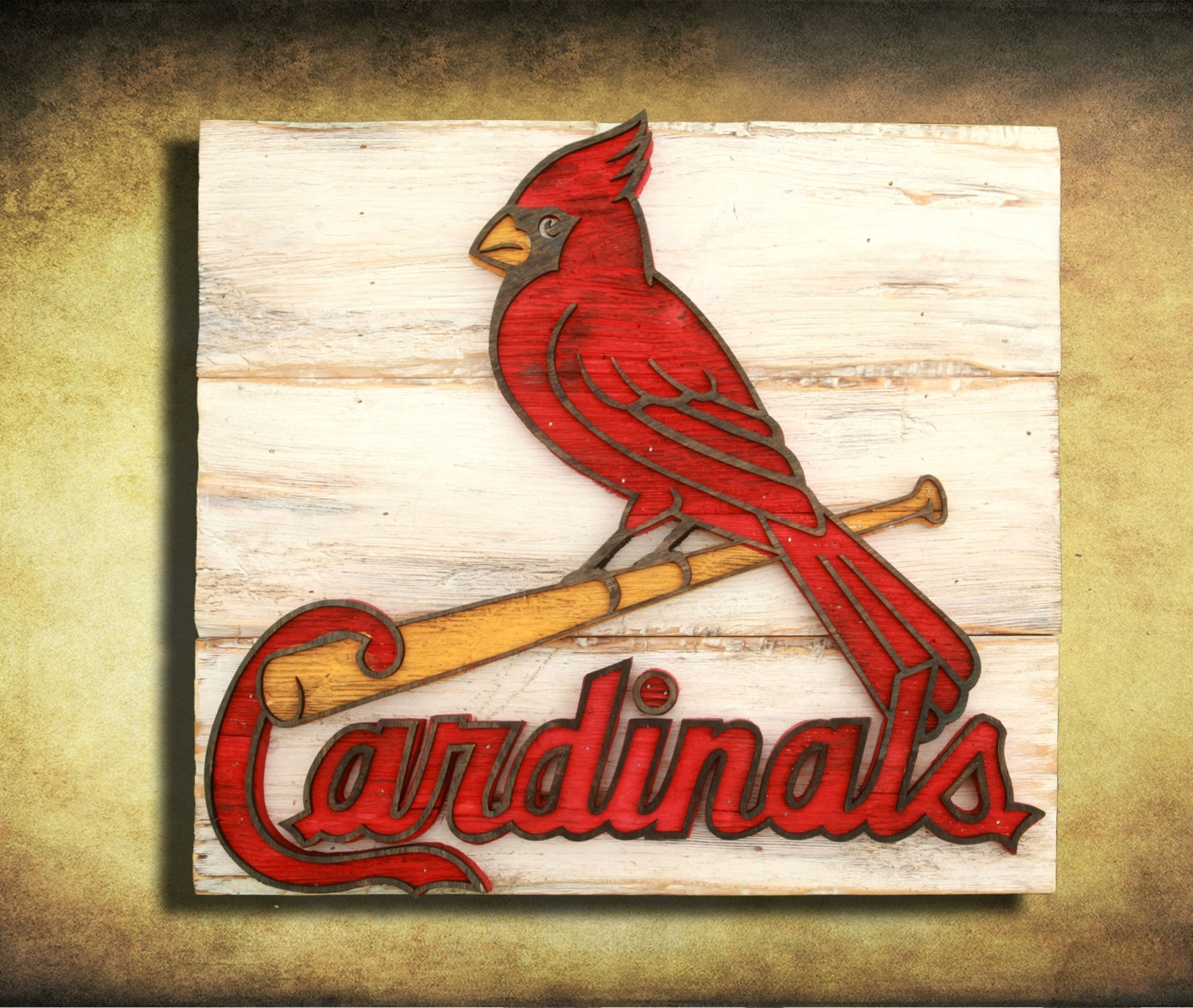 Saint Louis Cardinals Handmade Distressed Wood Sign, Vintage, Art Intended For 2017 Baseball Wall Art (View 17 of 20)