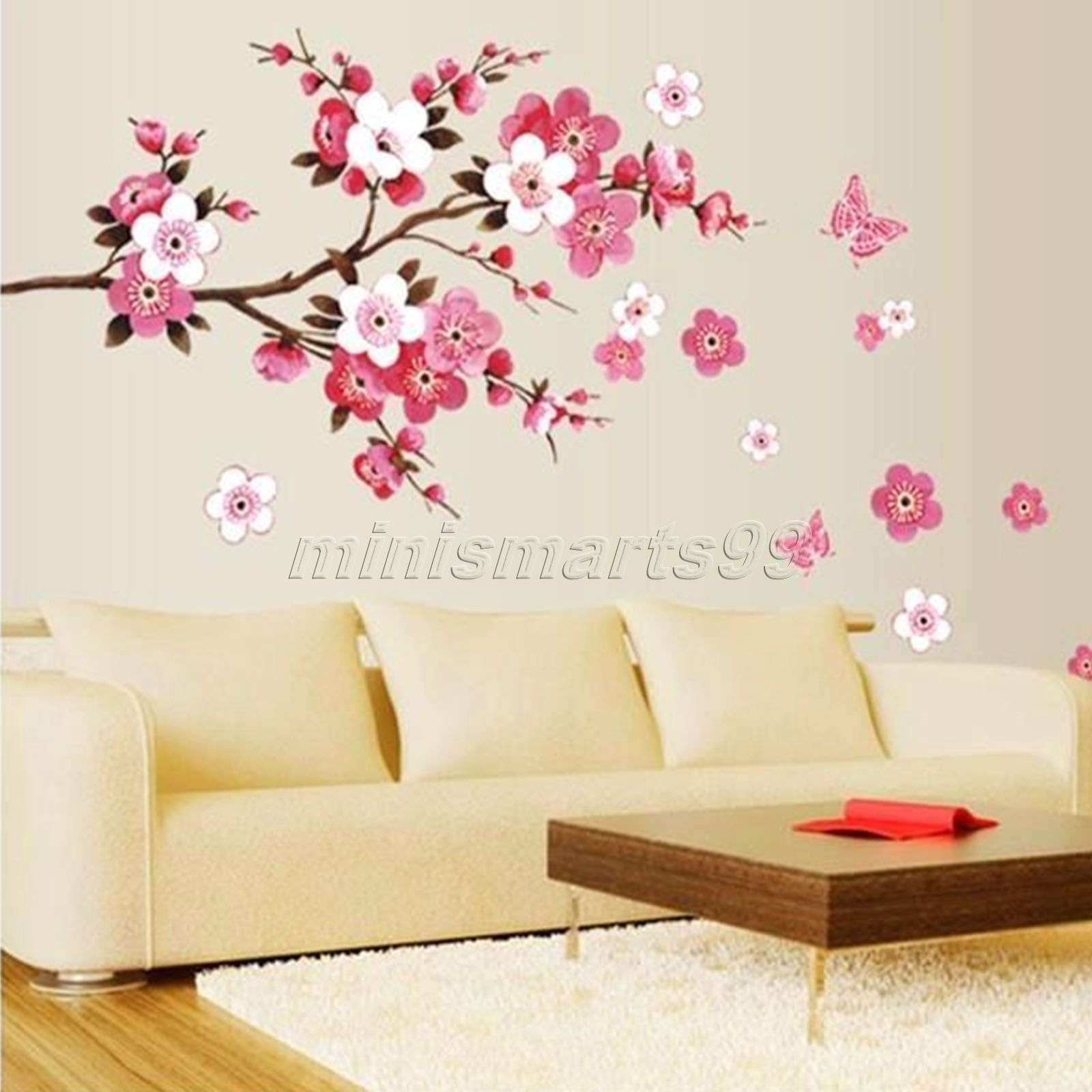 Sakura Flower Butterfly Cherry Blossom Wall Decal Nursery Tree With Regard To Most Current Cherry Blossom Wall Art (View 6 of 20)