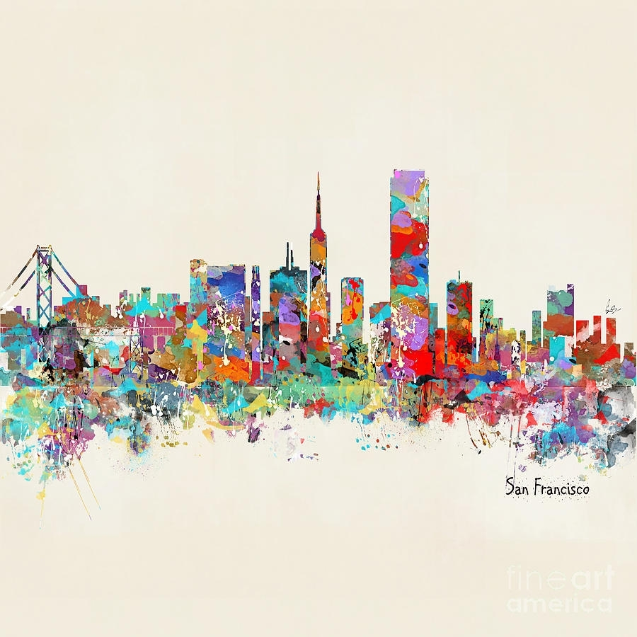 San Francisco California Skyline Paintingbri Buckley Pertaining To Current San Francisco Wall Art (View 10 of 20)