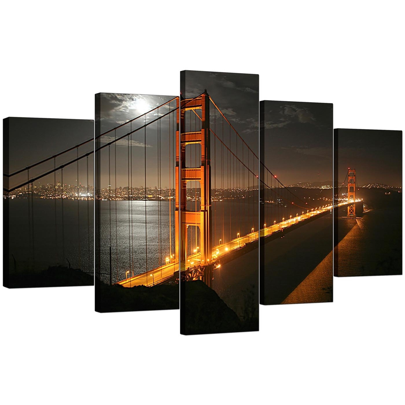 San Francisco Canvas Art For Your Hallway – 5 Panel With Newest San Francisco Wall Art (View 11 of 20)