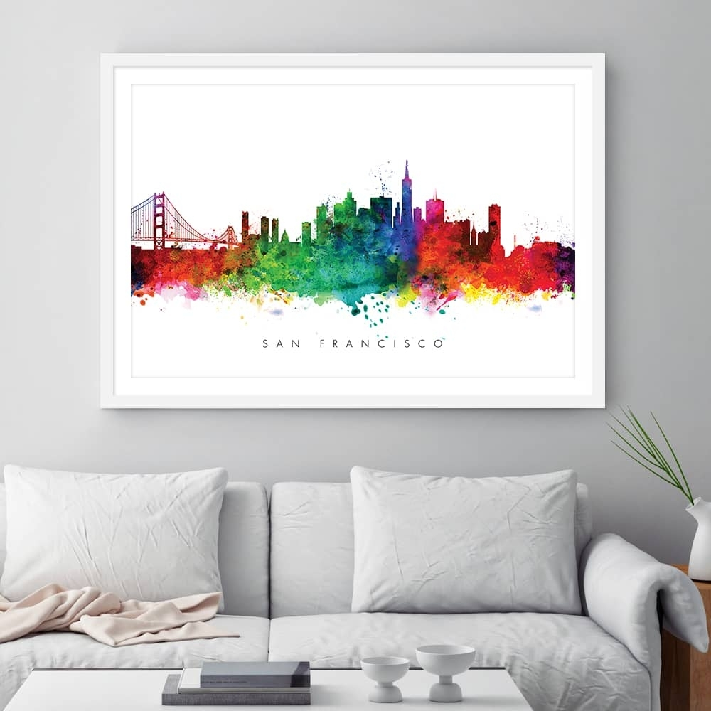 San Francisco Skyline, Multi Color Watercolor Print | Dead Good Art Inside Most Recently Released San Francisco Wall Art (Gallery 18 of 20)