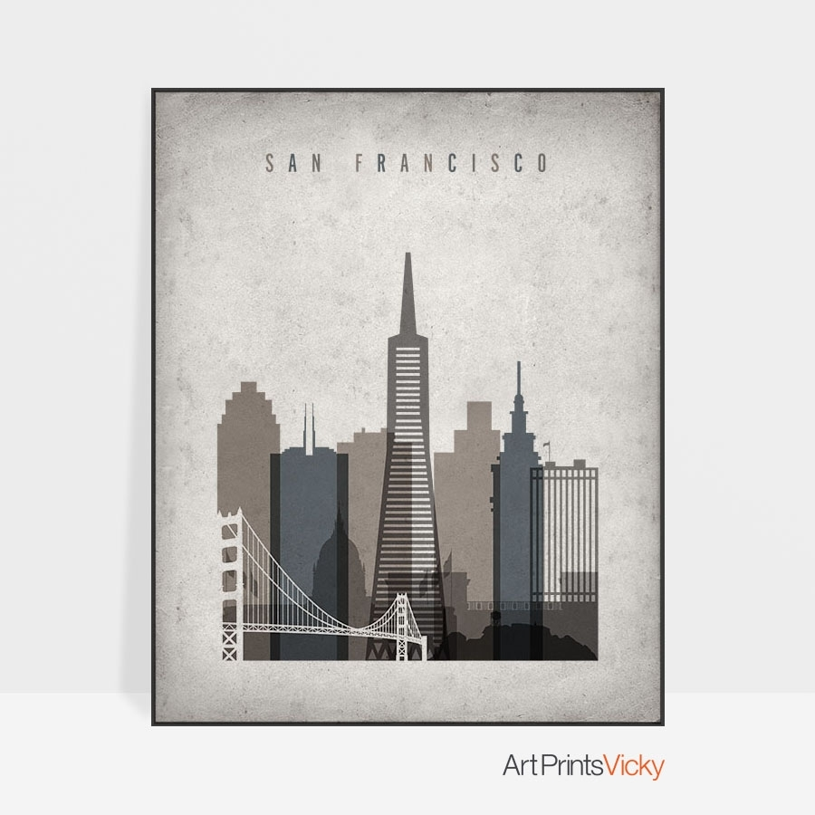 San Francisco Skyline Wall Art Retro | Artprintsvicky Regarding Most Up To Date San Francisco Wall Art (View 13 of 20)