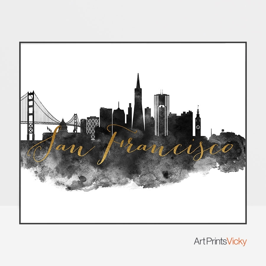 San Francisco Wall Art Print Black And White | Artprintsvicky Pertaining To Latest San Francisco Wall Art (View 17 of 20)