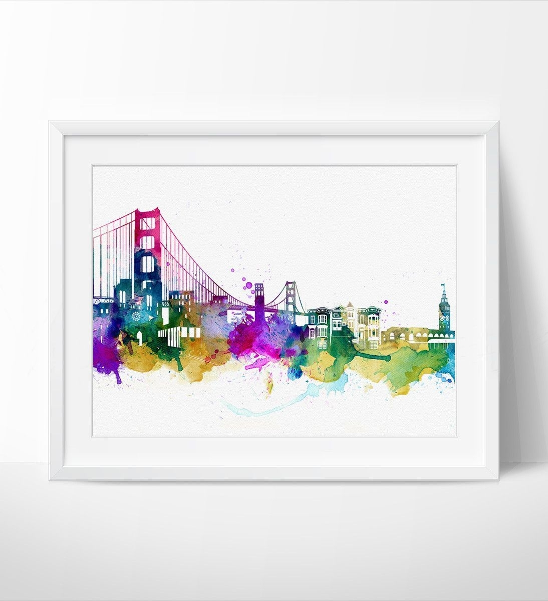 San Francisco, Watercolor Skyline Art Print, Wall Art San Francisco Intended For Most Recent San Francisco Wall Art (Gallery 17 of 20)