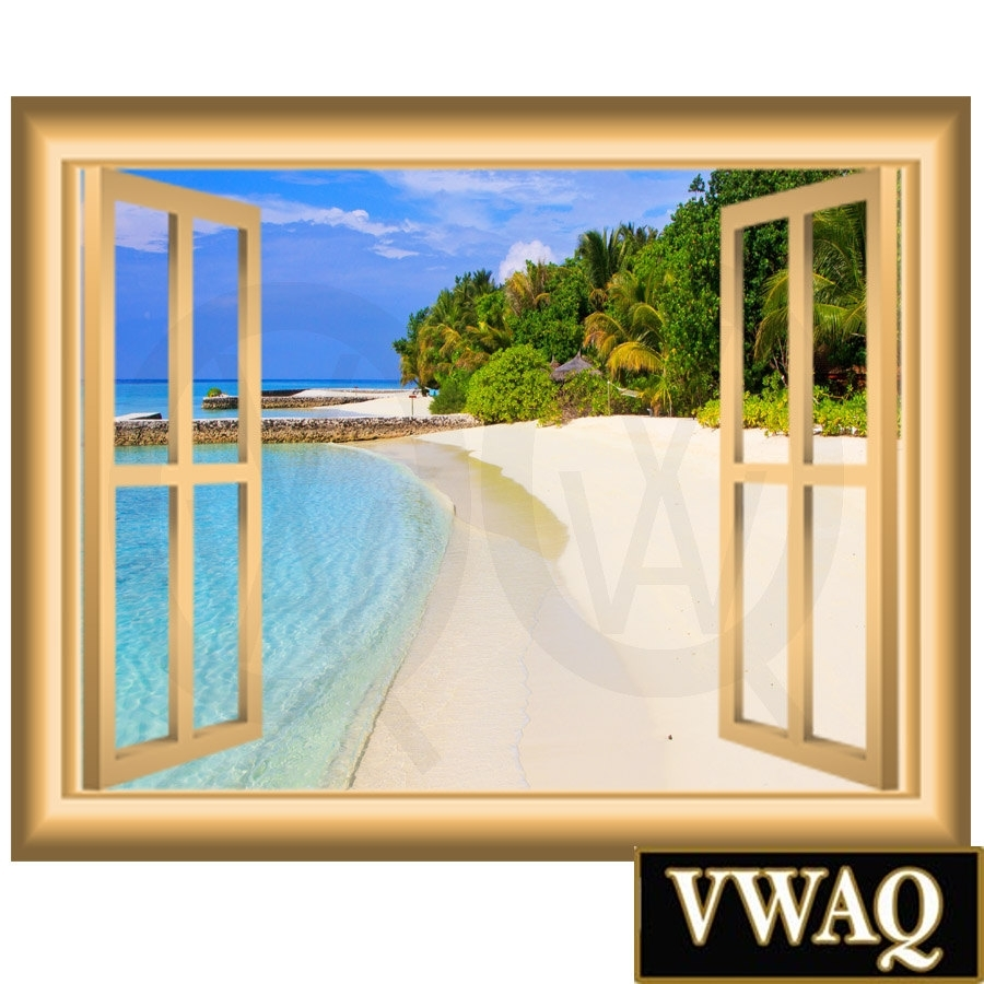 Sandy Beach Vinyl Decal Window Frame Scene Wall Art Peel And Stick Intended For 2017 Window Frame Wall Art (View 11 of 15)