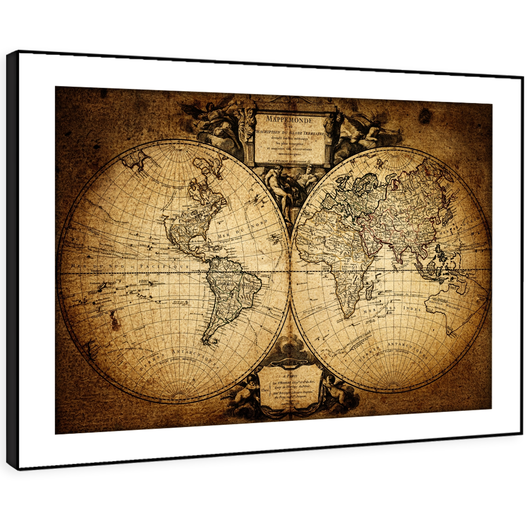 Sc359 Retro Vintage World Map Landscape Framed Wall Art Large With Regard To Best And Newest Framed Wall Art (View 13 of 15)