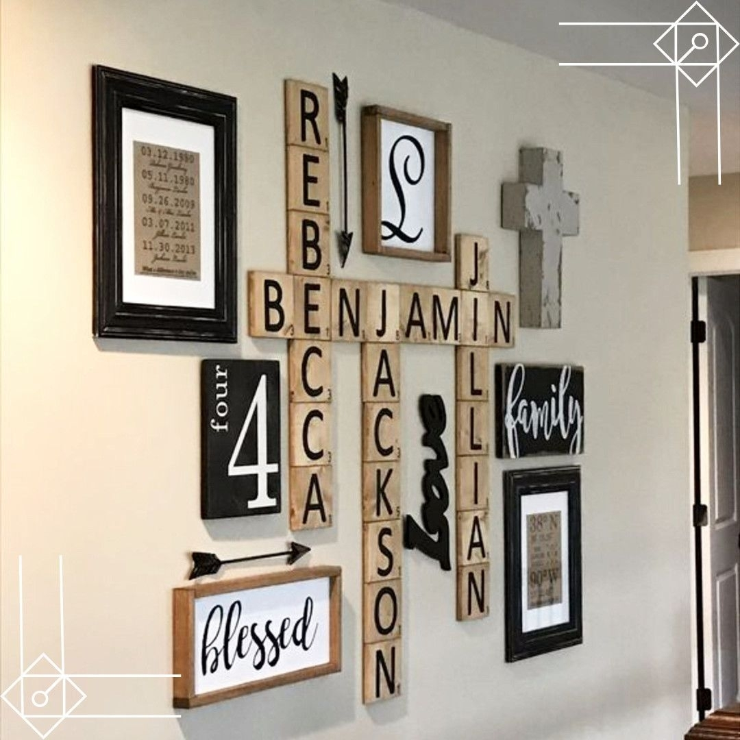 Scrabble Wall Art Diy Idea – Would Look Great In A Farmhouse Foyer Throughout 2018 Scrabble Wall Art (View 2 of 20)