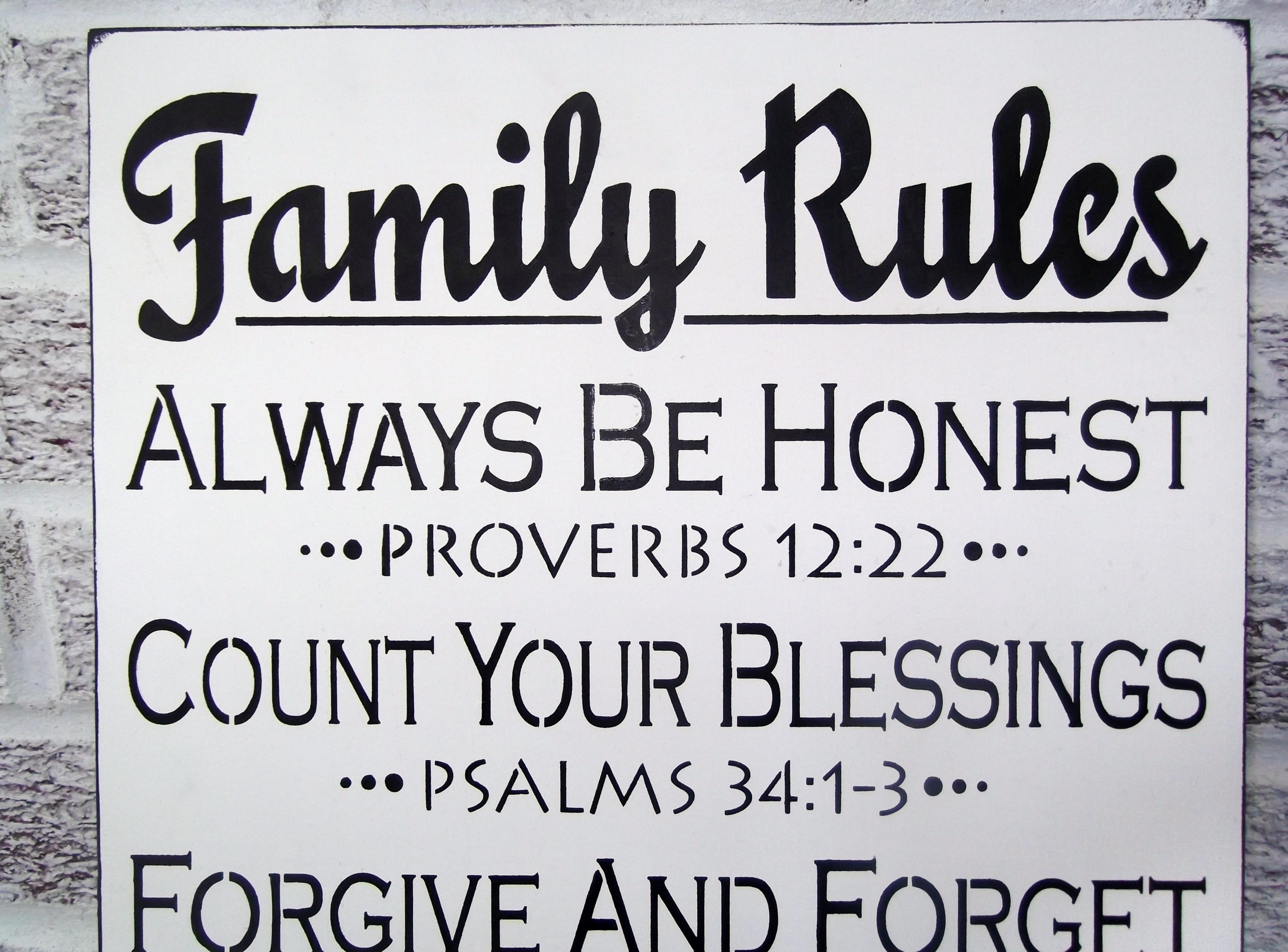 "Scripture Art, Christian Art ""family Rules"" Sign – Large Wall Art Within 2018 Family Rules Wall Art (View 2 of 20)"