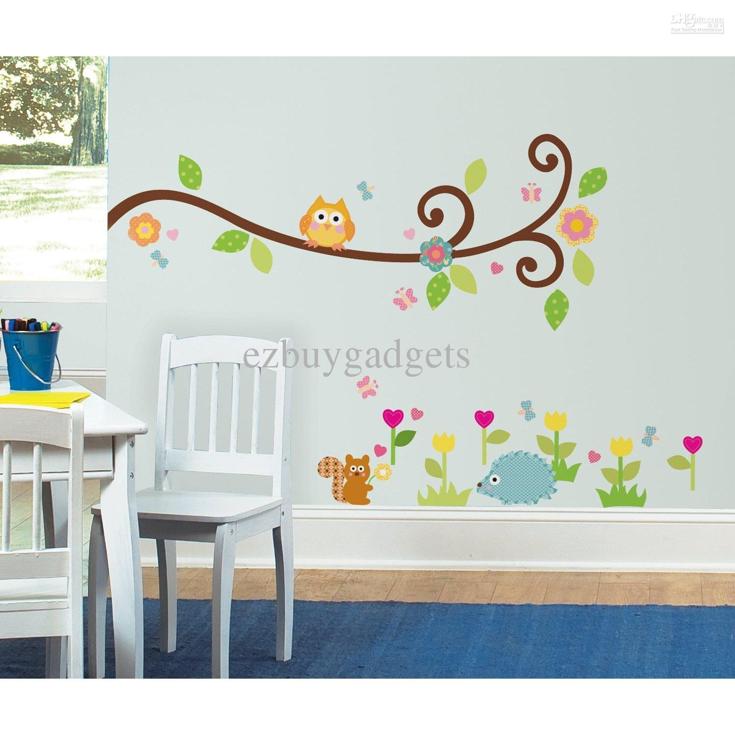 Scroll Branch Peel And Stick Wall Art Decals Owl Leaves Flowers Kids Regarding 2018 Stick On Wall Art (View 15 of 20)