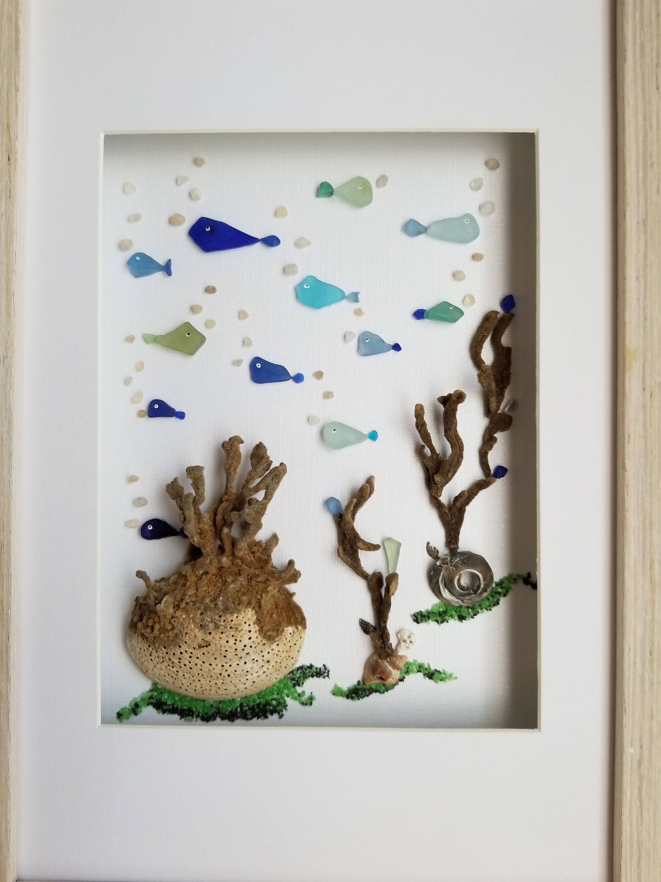 Sea Glass Art, Framed Sea Glass Bathroom Wall Decor, Costal Decor Throughout Newest Sea Glass Wall Art (View 7 of 15)