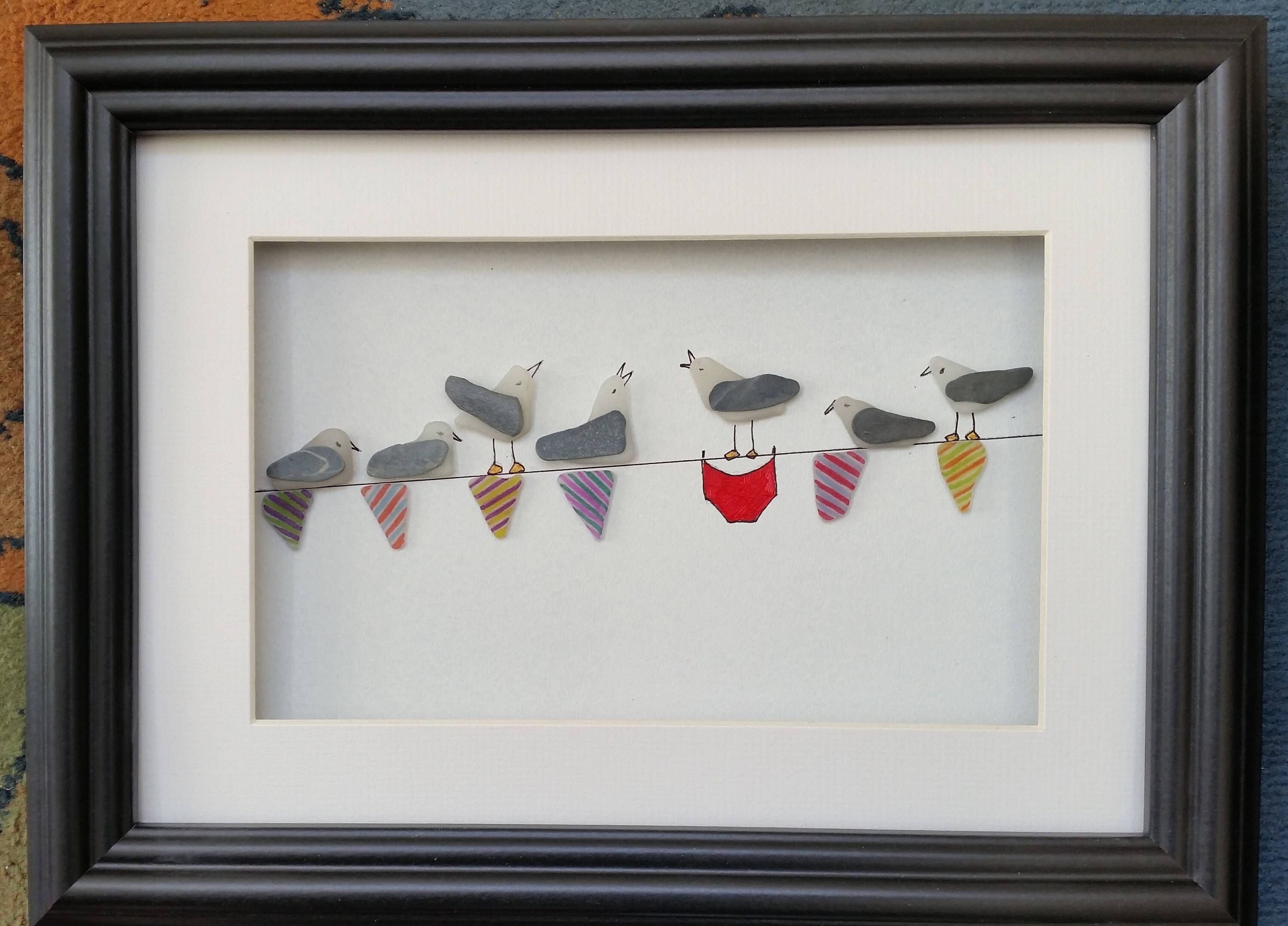 Sea Glass Art, Sea Glass Seagulls, Sea Gulls On Bunting, Pebble With Best And Newest Sea Glass Wall Art (View 9 of 15)