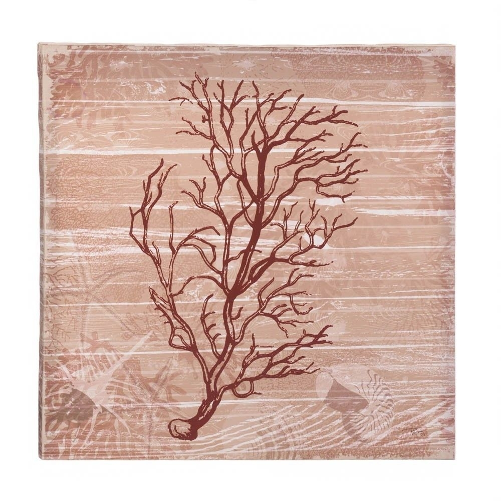 Sea Swept Coral Canvas Wall Art Red Under The Sea Style Wooden Frame Regarding 2018 Coral Wall Art (Gallery 12 of 20)
