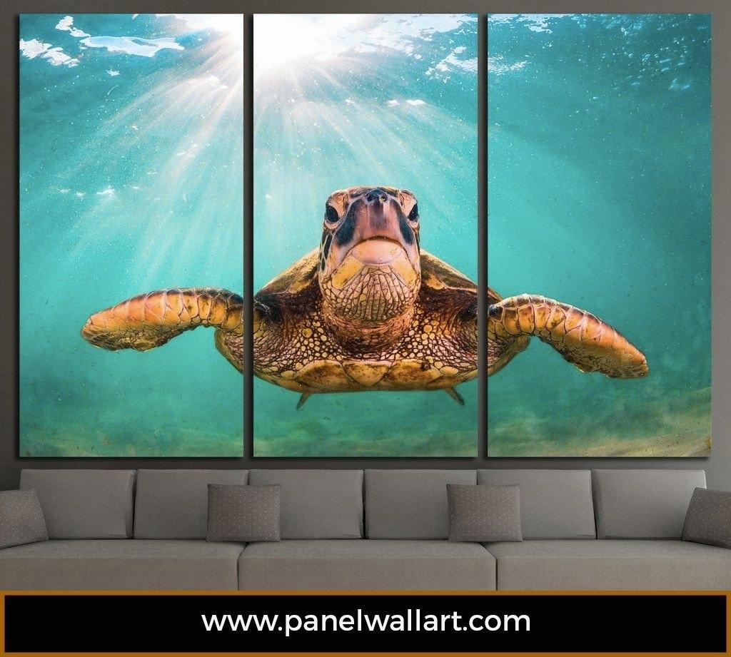 Sea Turtle | Ocean Creatures Multi Panel Canvas | Panel Wallart Regarding Most Recently Released Sea Turtle Canvas Wall Art (Gallery 5 of 20)