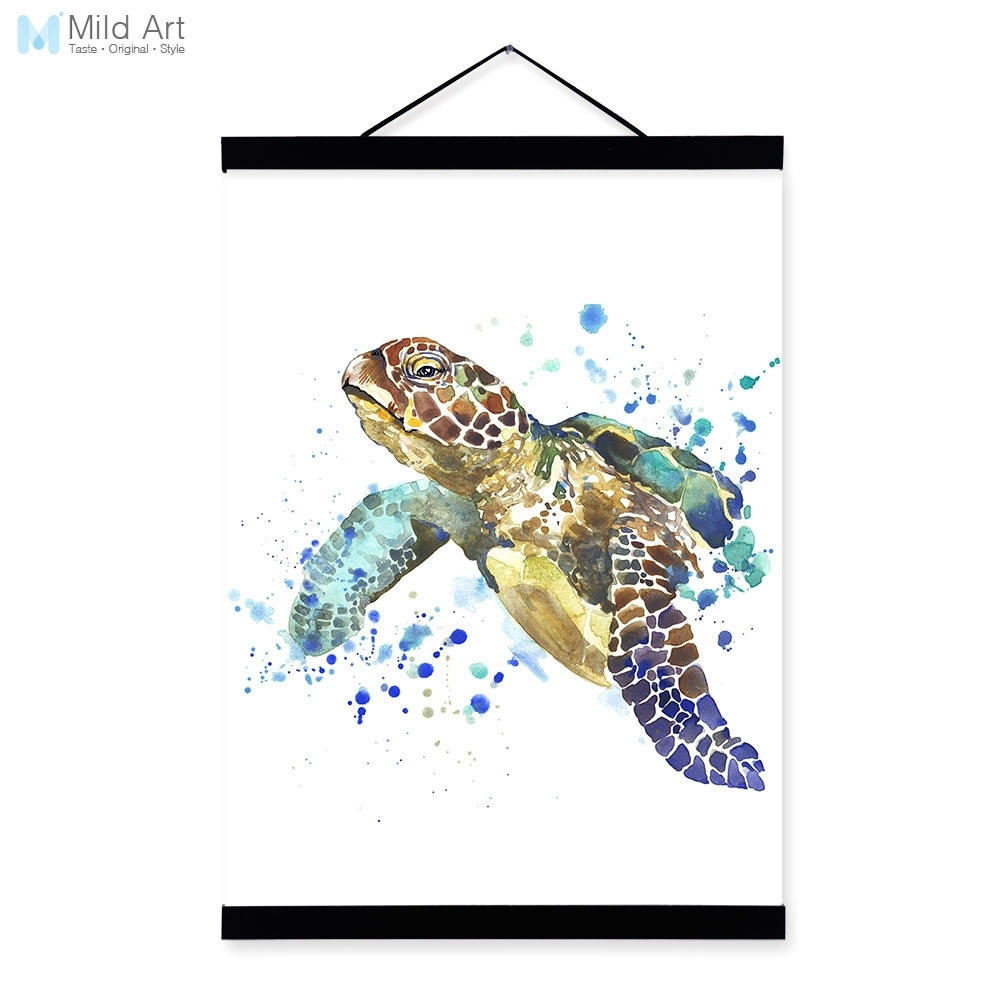 Sea Turtle Wood Wall Art Sea Turtle Watercolor Fashion Animal Pertaining To Most Popular Sea Turtle Canvas Wall Art (View 16 of 20)