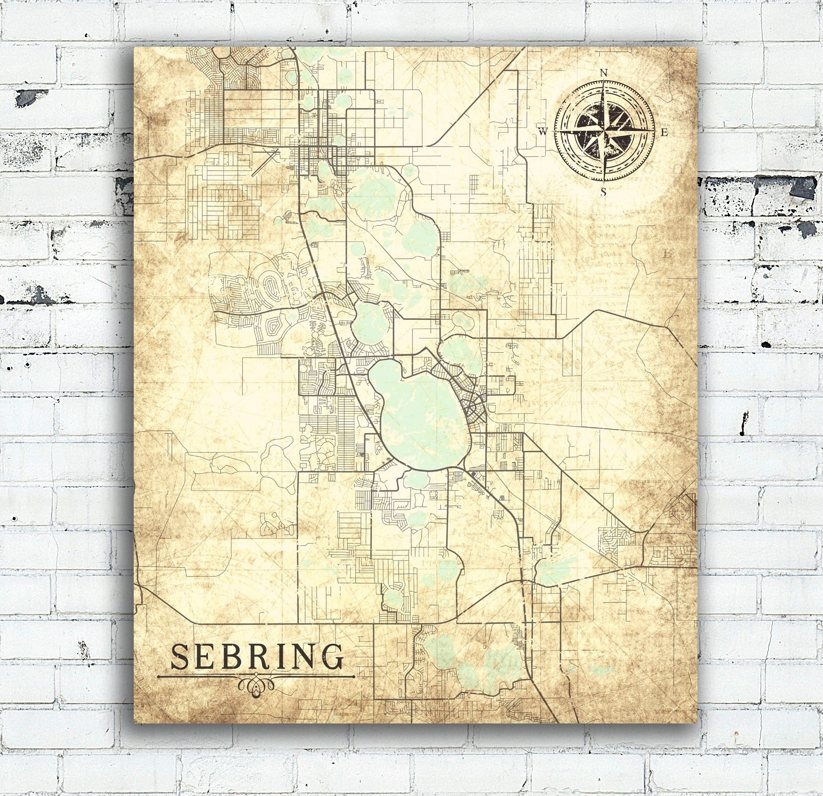 Sebring Fl Canvas Print Florida Fl Vintage Map City Map Florida Inside Most Current Florida Wall Art (View 15 of 20)
