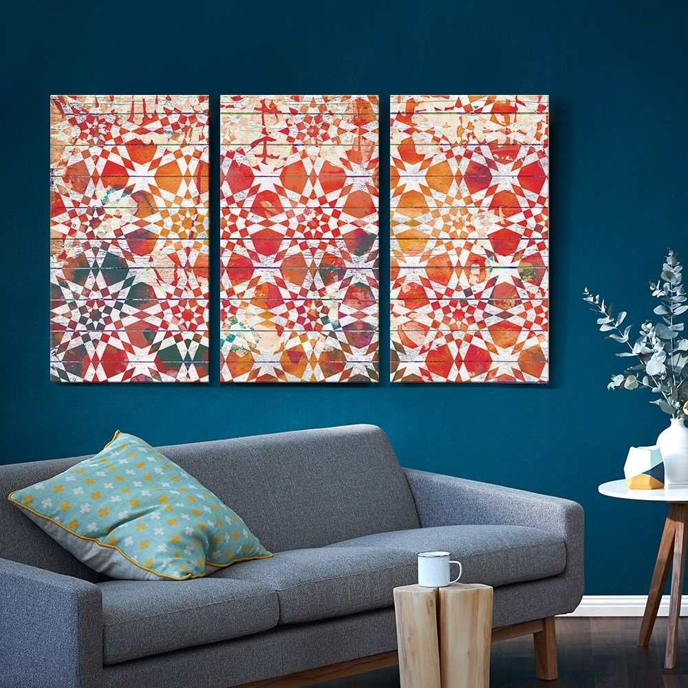 Set Of 3 Moroccan Tile Canvas Prints – T&w Art Collection – T&w Art Regarding Most Current Tile Canvas Wall Art (View 4 of 20)