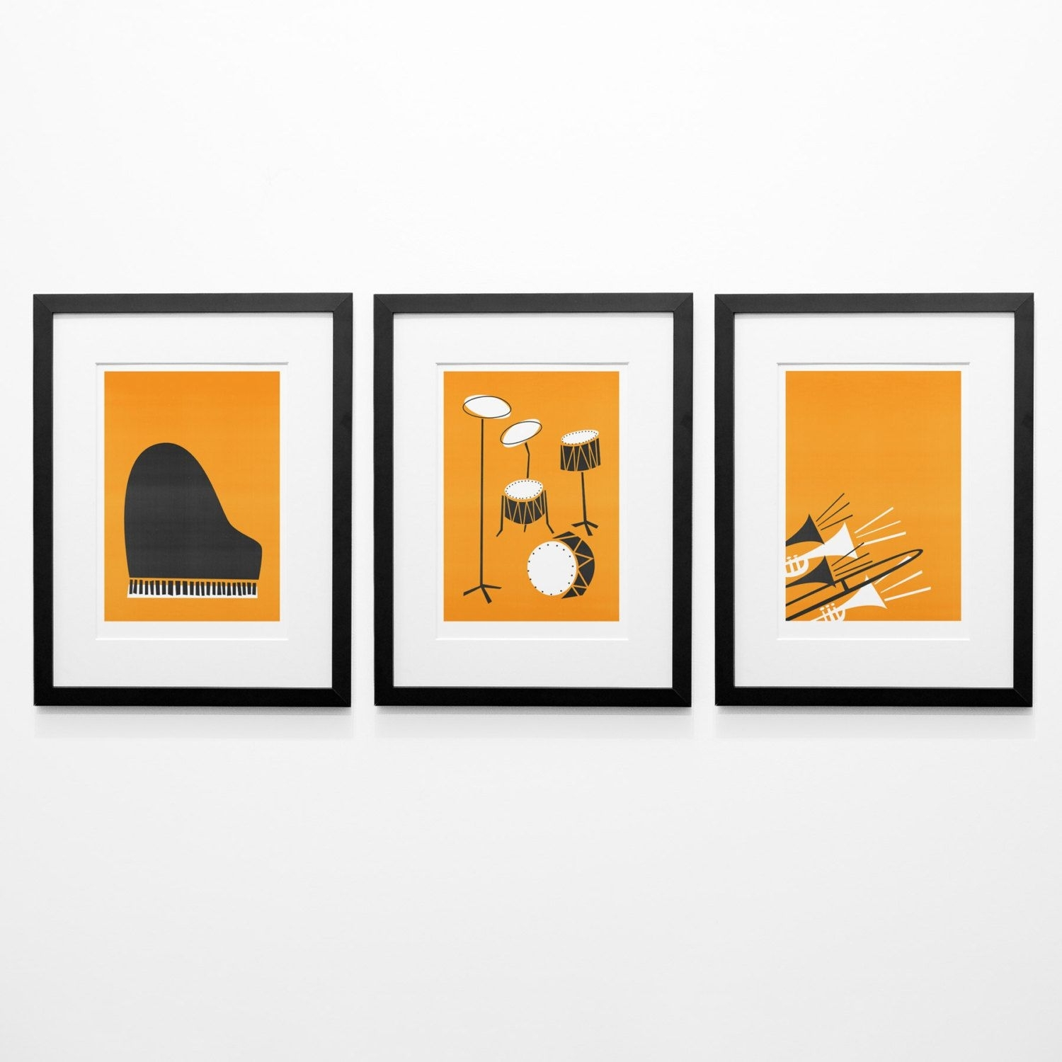 Set Of 3 Music Posters, Mid Century Modern Wall Art, Birthday Gift Throughout Current Mid Century Modern Wall Art (Gallery 18 of 20)