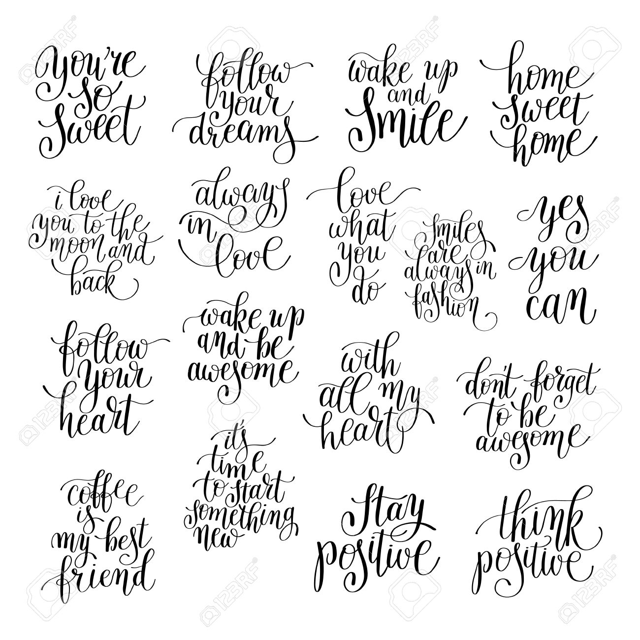 Set Of Handwritten Positive Inspirational Quotes Brush Typography With Regard To Most Recently Released Printable Wall Art (Gallery 19 of 20)