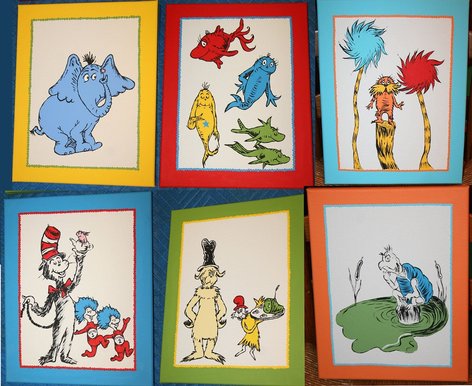 Set Of Six Dr. Seuss Inspired Custom Hand Painted Wall Art Paintings Regarding Current Dr Seuss Wall Art (Gallery 2 of 20)